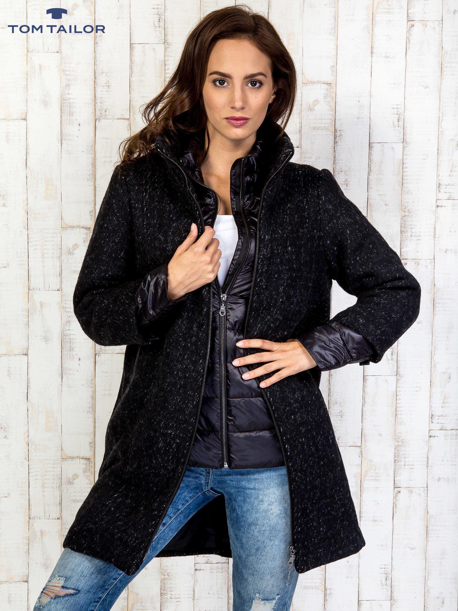 TOM TAILOR Czarny dwuczęściowy płaszcz z kurtką pikowaną                                  zdj.                                  3