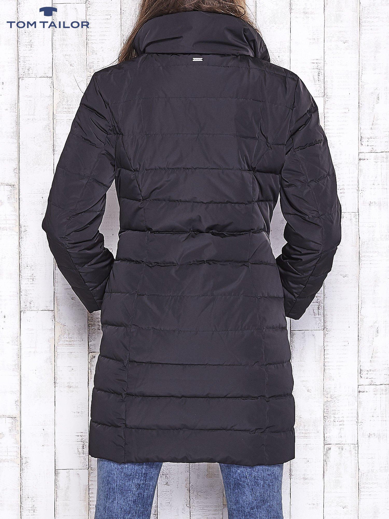 TOM TAILOR Czarny płaszcz z wełnianym wykończeniem                                  zdj.                                  2