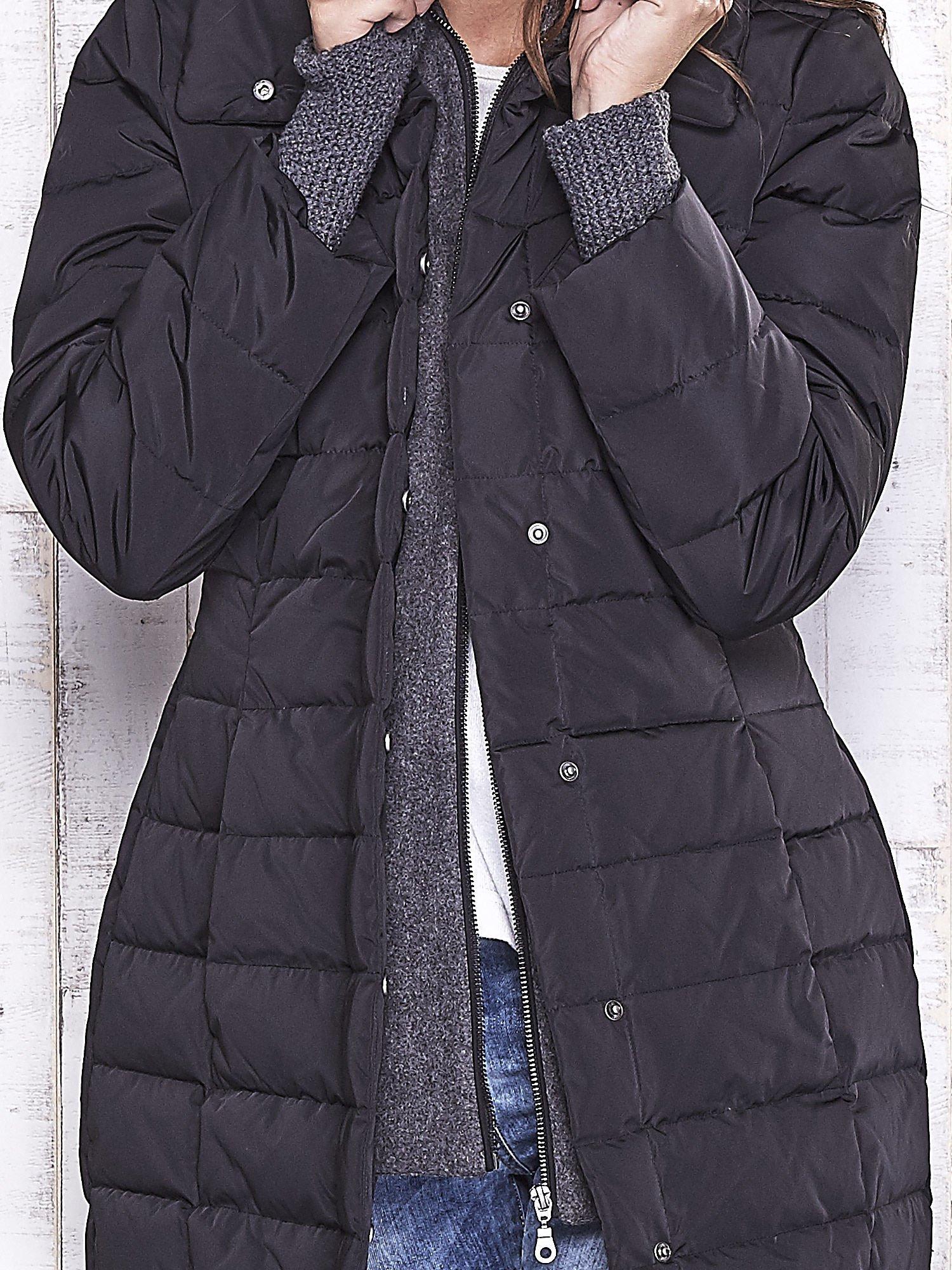 TOM TAILOR Czarny płaszcz z wełnianym wykończeniem                                  zdj.                                  9