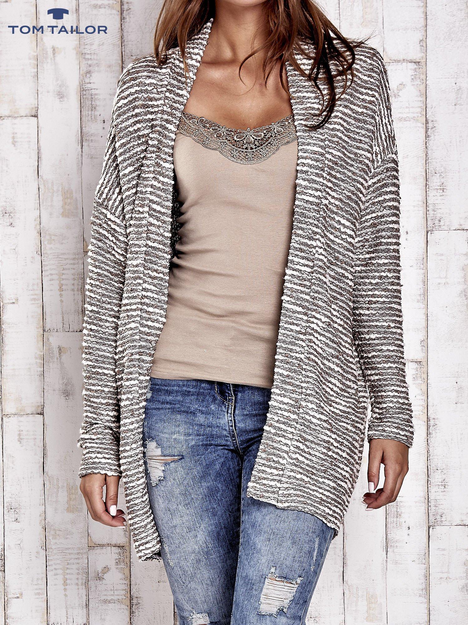TOM TAILOR Ecru fakturowany sweter kardigan                                   zdj.                                  1