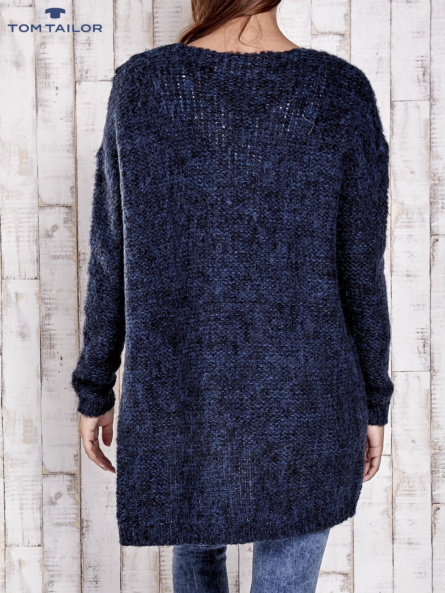 TOM TAILOR Granatowy melanżowy sweter z zapięciem na guziki                                  zdj.                                  5