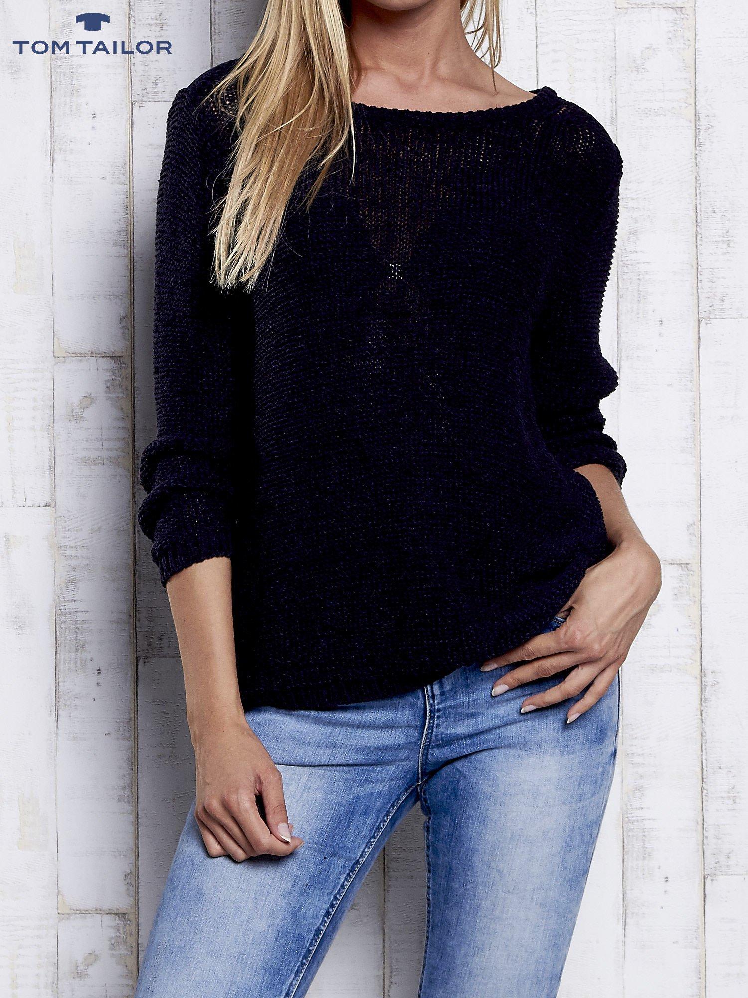 TOM TAILOR Granatowy sweter z kokardą na plecach                                  zdj.                                  1