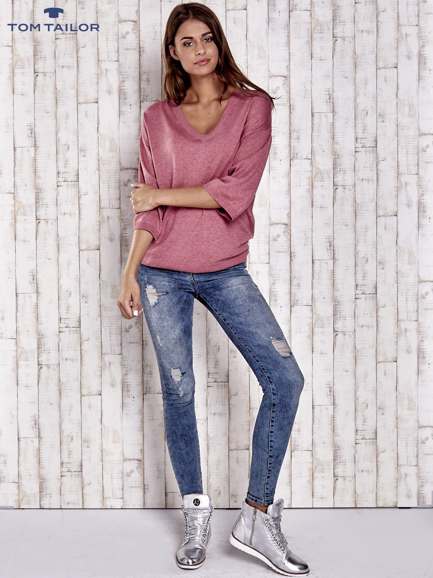 TOM TAILOR Koralowy sweter z satynowym tyłem                                  zdj.                                  2