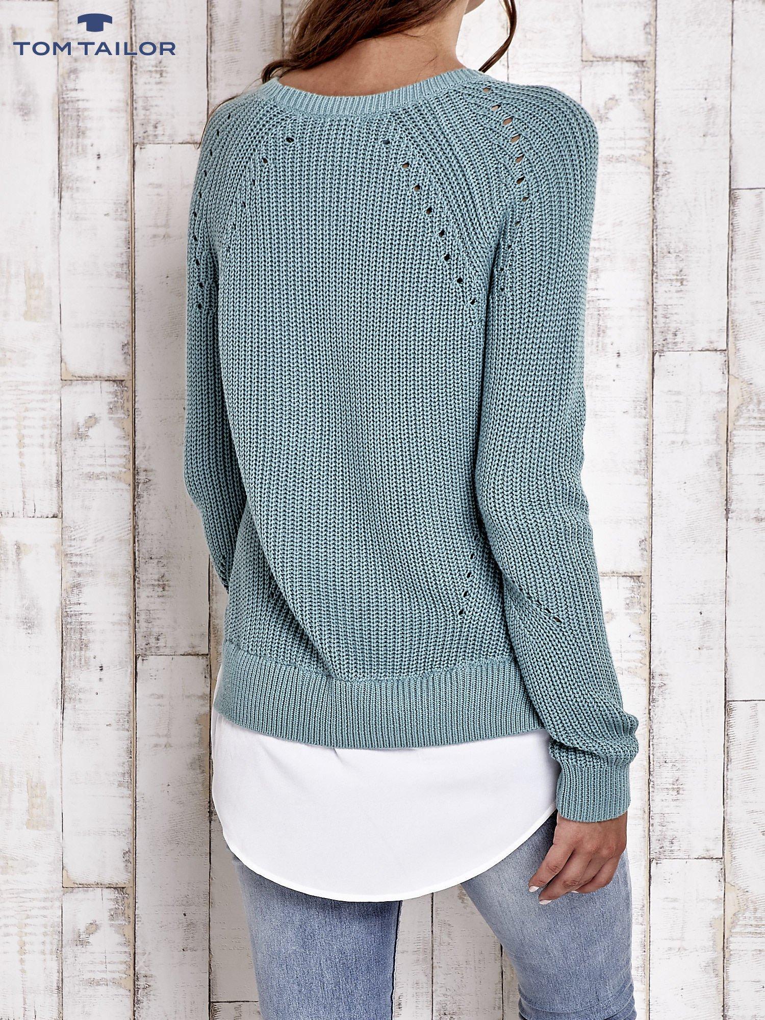 TOM TAILOR Zielony sweter z koszulą                                  zdj.                                  3