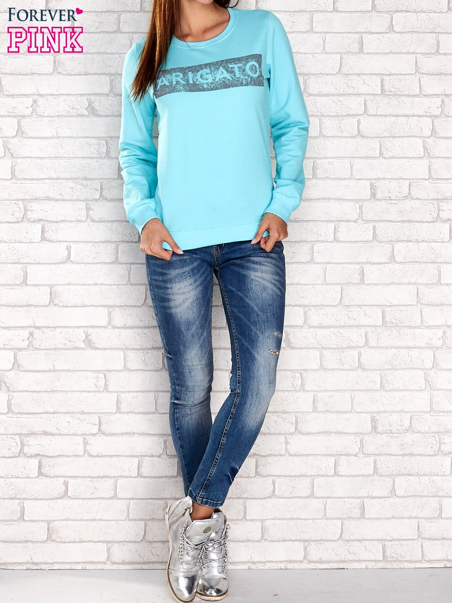Turkusowa bluza z napisem ARIGATO                                  zdj.                                  4
