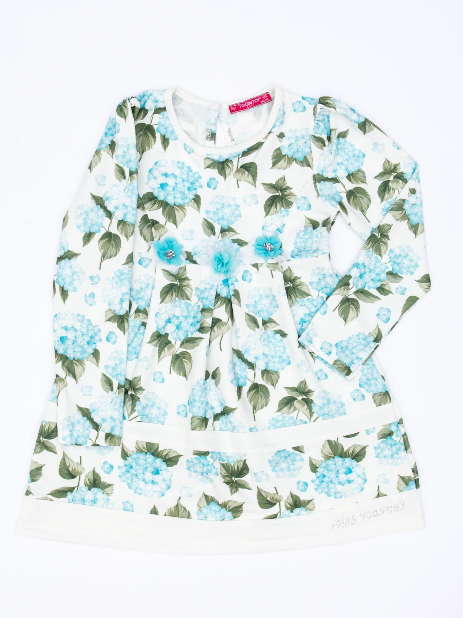2ca18b75882b11 Turkusowa sukienka dla dziewczynki w kwiaty z tiulową aplikacją ...