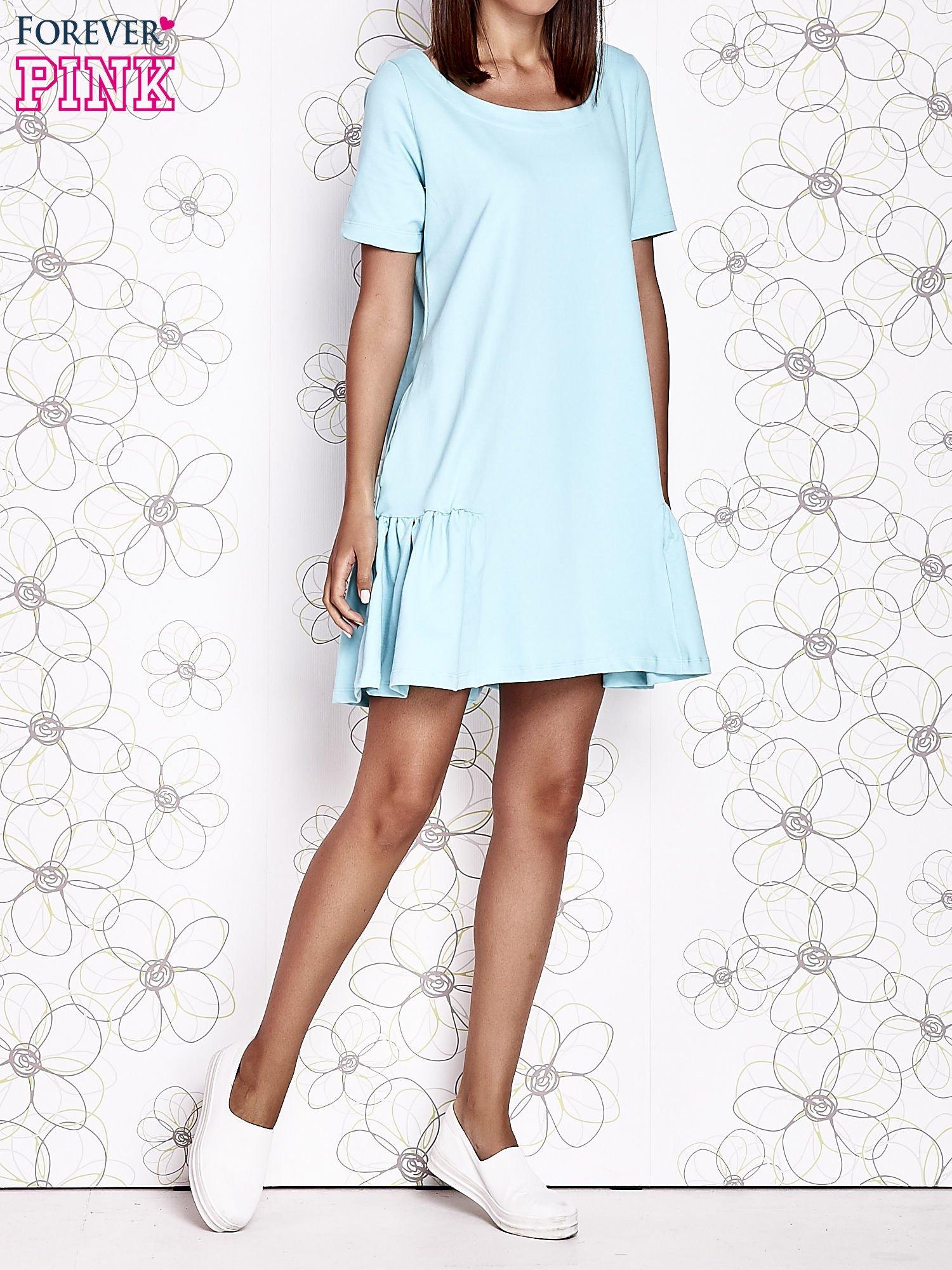 Turkusowa sukienka dresowa z falbanami z boku                                  zdj.                                  5
