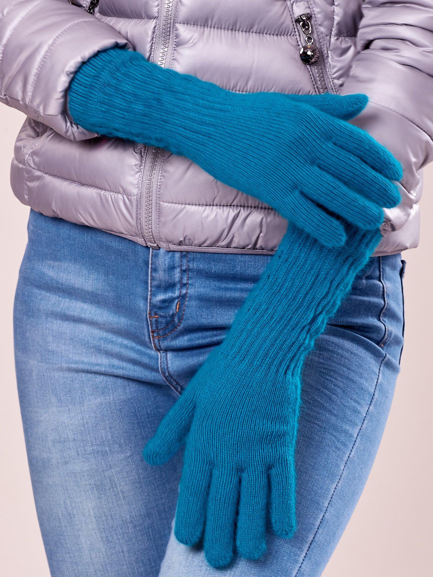 Turkusowe długie rękawiczki z drapowanym rękawem                                  zdj.                                  2