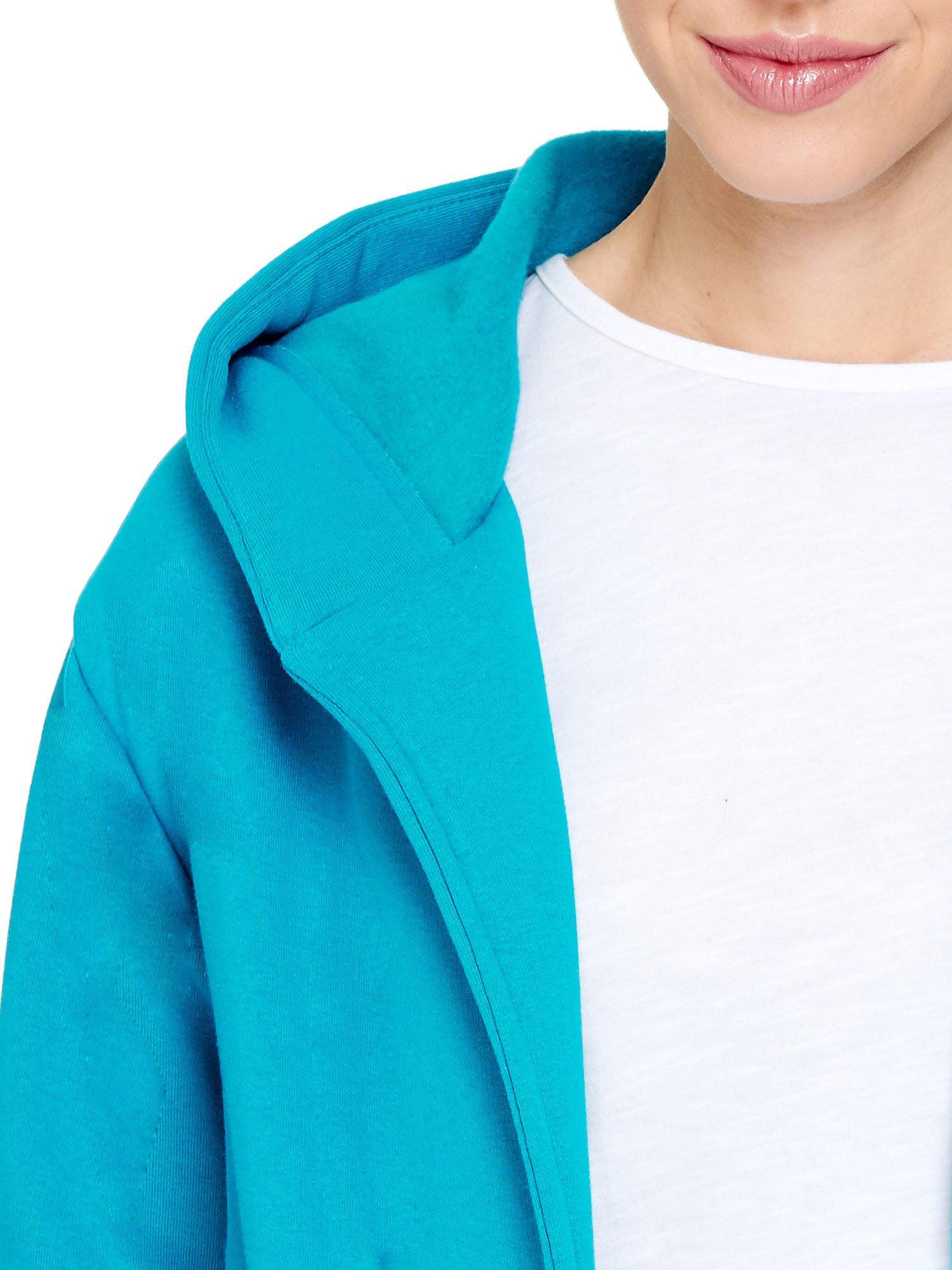 Turkusowy dresowy bluzopłaszcz ściągany w pasie                                  zdj.                                  6
