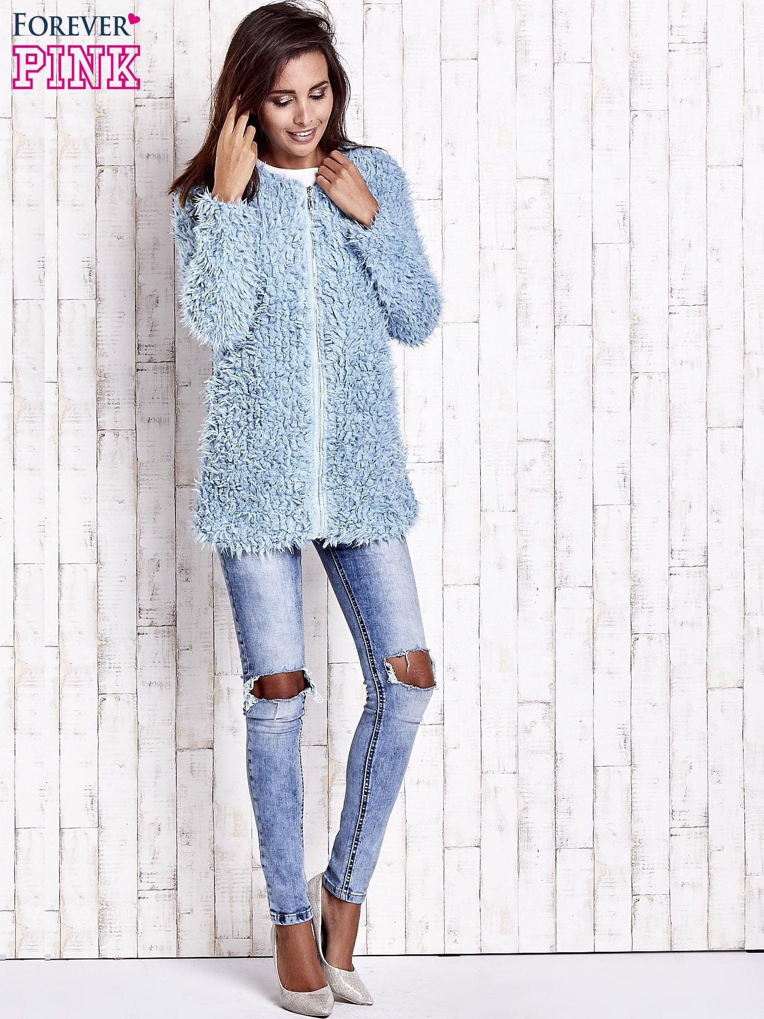 Turkusowy futrzany sweter kurtka na suwak                                  zdj.                                  3