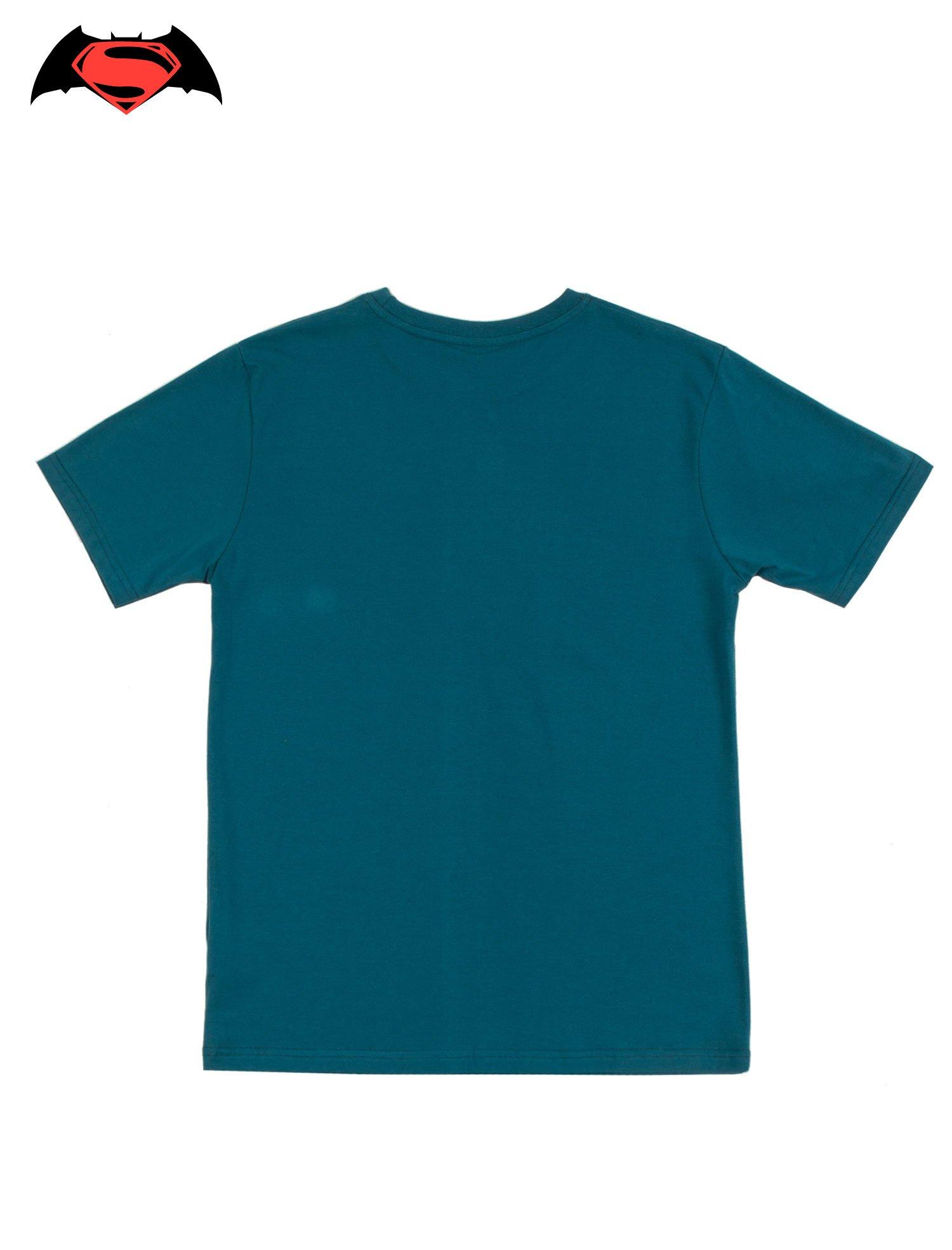 Turkusowy t-shirt męski z motywem BATMAN V SUPERMAN                                  zdj.                                  2