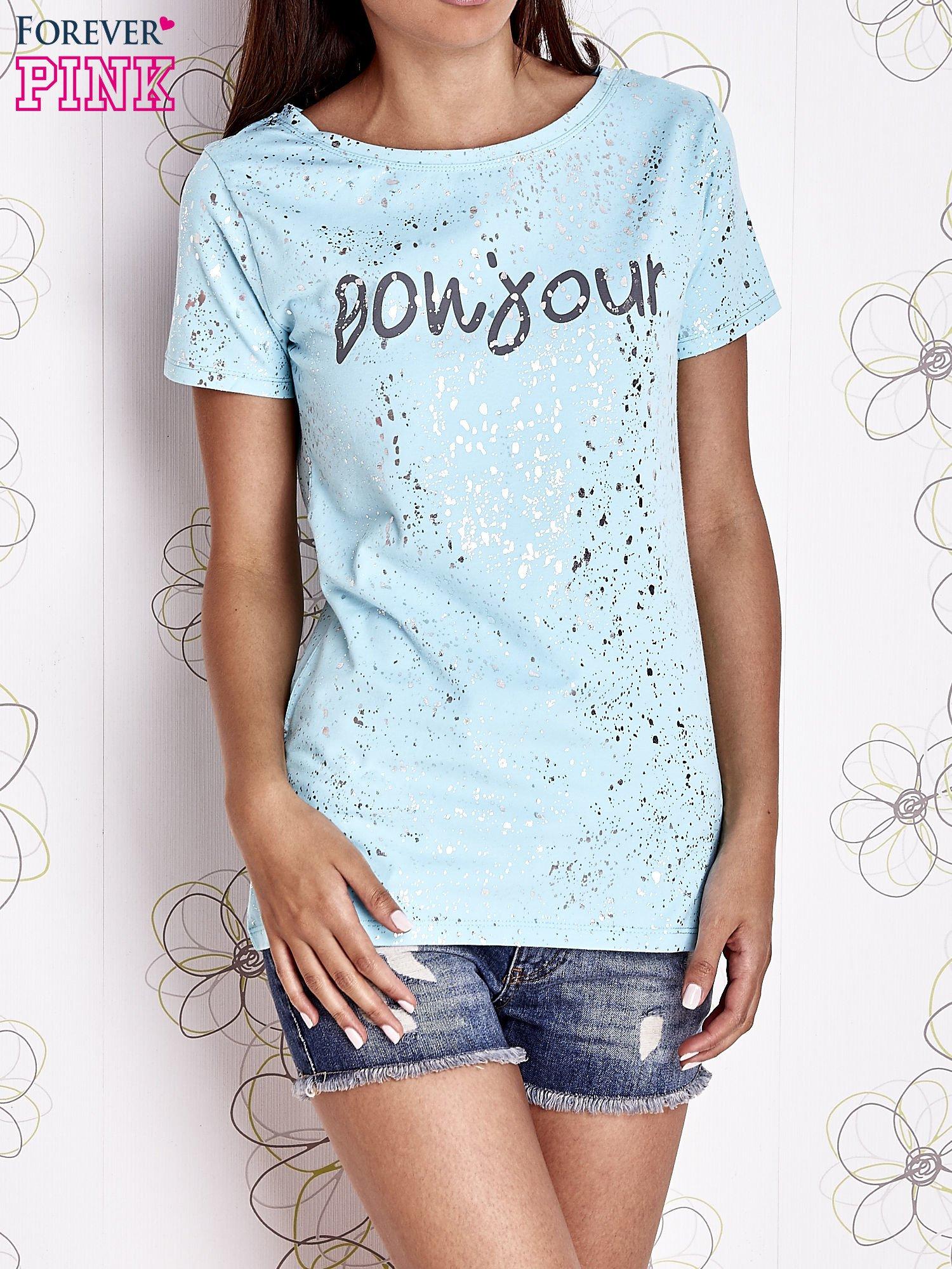 Turkusowy t-shirt z napisem BONJOUR                                  zdj.                                  1