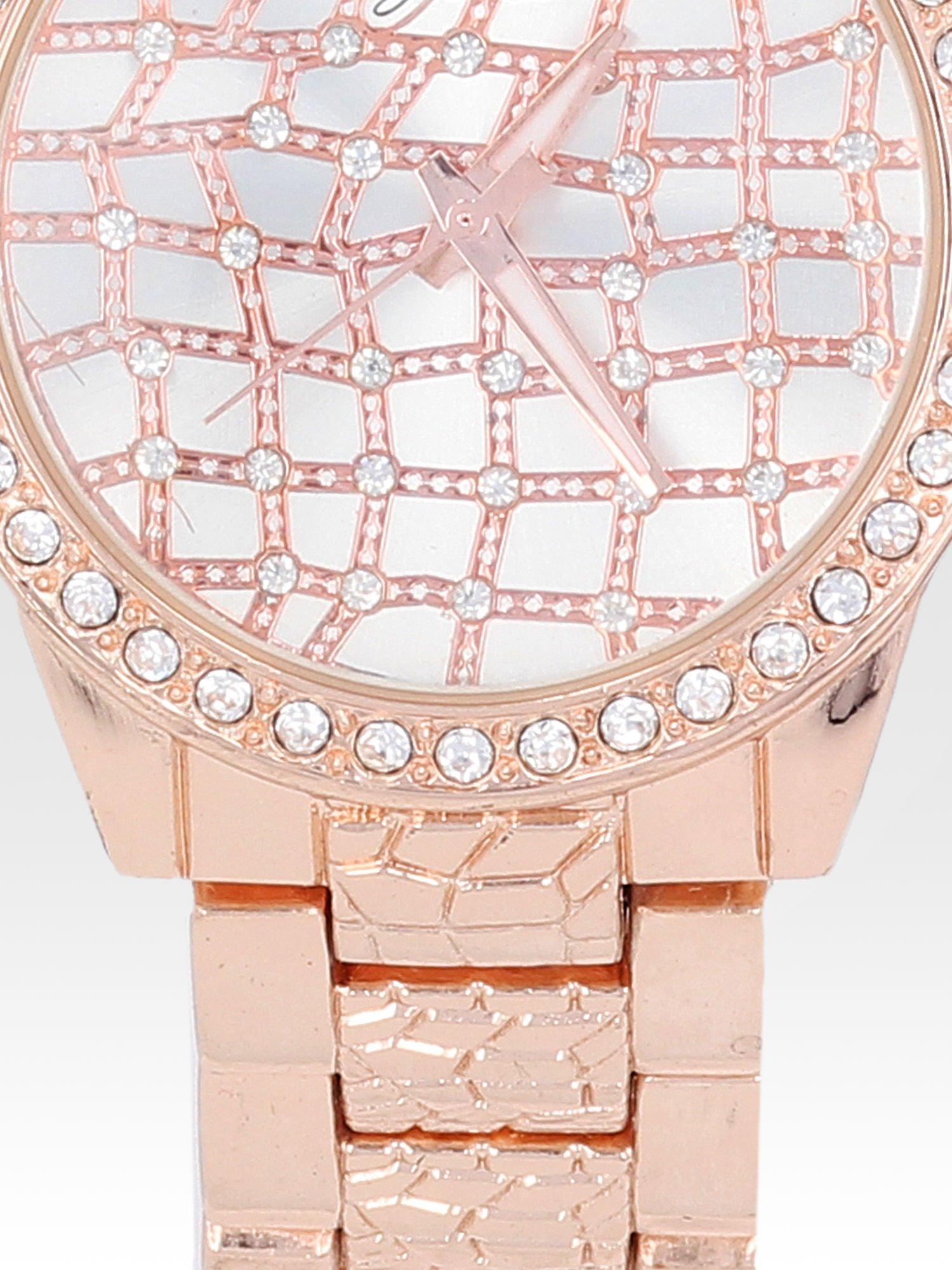 Zegarek damski na bransolecie z cyrkoniową kopertą z różowego złota                                  zdj.                                  5