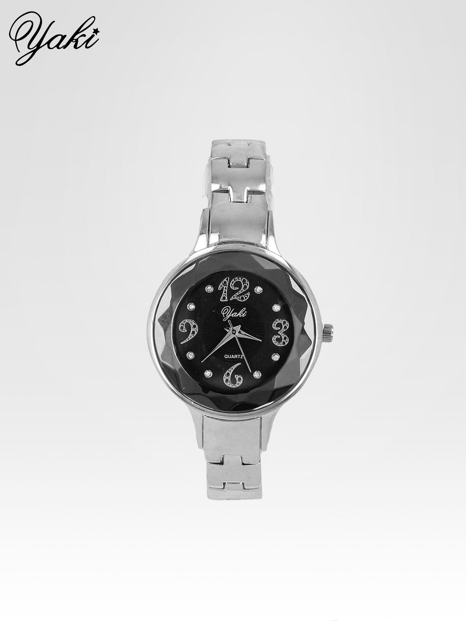 Zegarek damski na bransolecie z okrągłą kopertą z cyrkoniami w kolorze srebra                                  zdj.                                  1