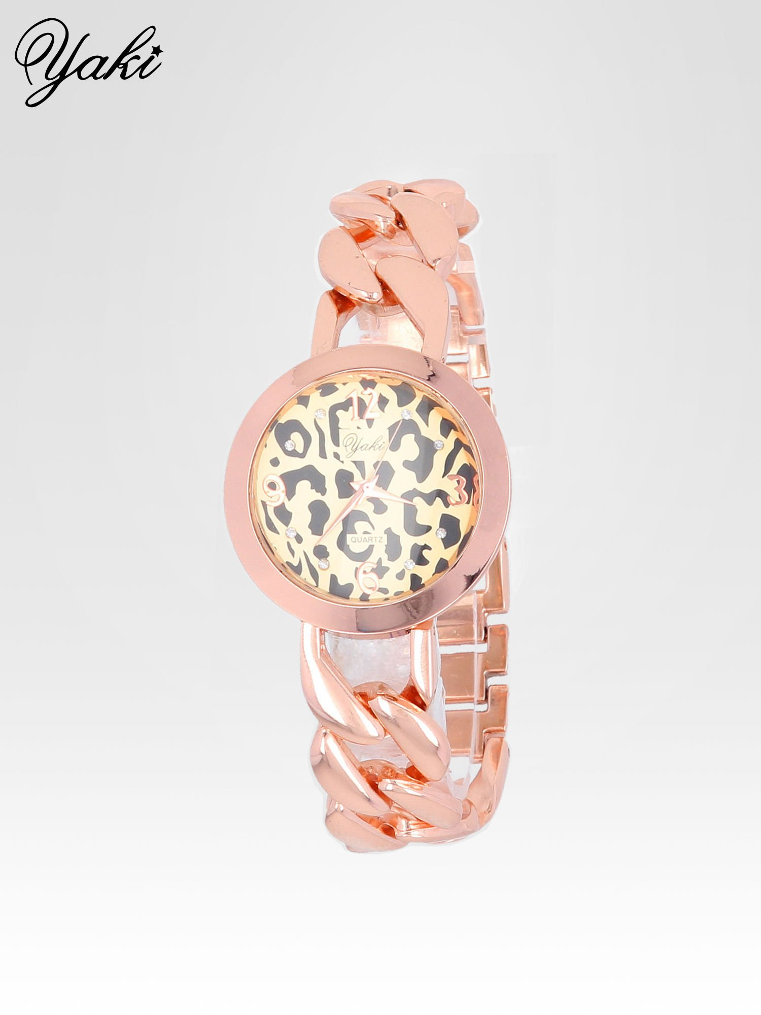 Zegarek damski z motywem leopard print na bransolecie z różowego złota                                  zdj.                                  2