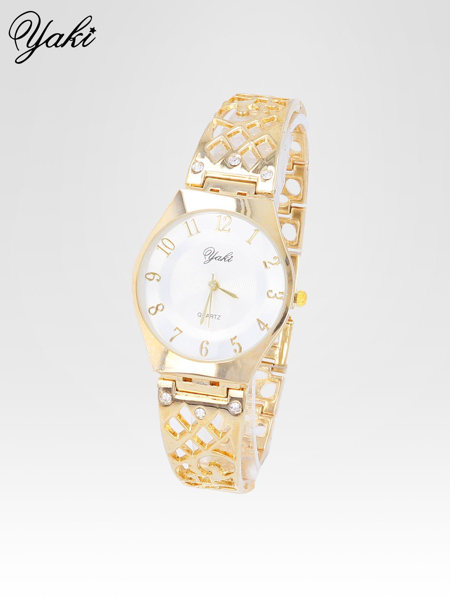 Zegarek na bansolecie z cyrkoniami ze złota                                  zdj.                                  2