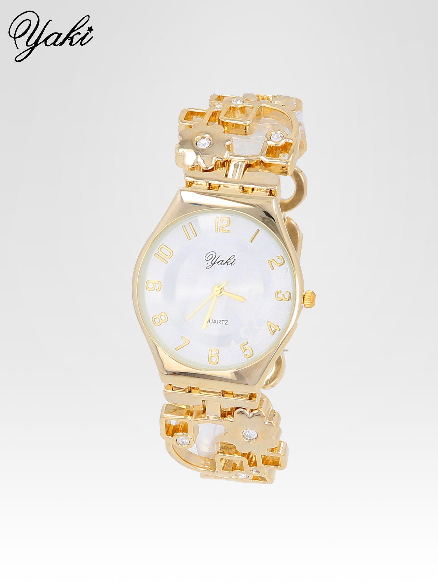 Zegarek na kwiatowej bansolecie z cyrkoniami ze złota                                  zdj.                                  1