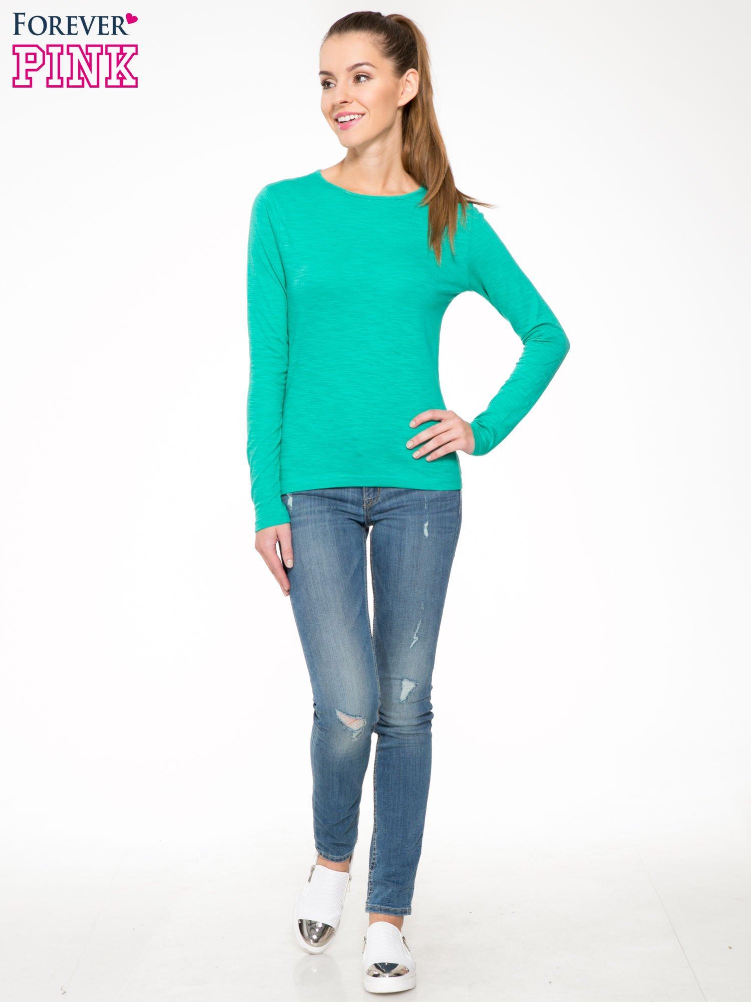 Zielona bawełniana bluzka typu basic z długim rękawem                                  zdj.                                  2