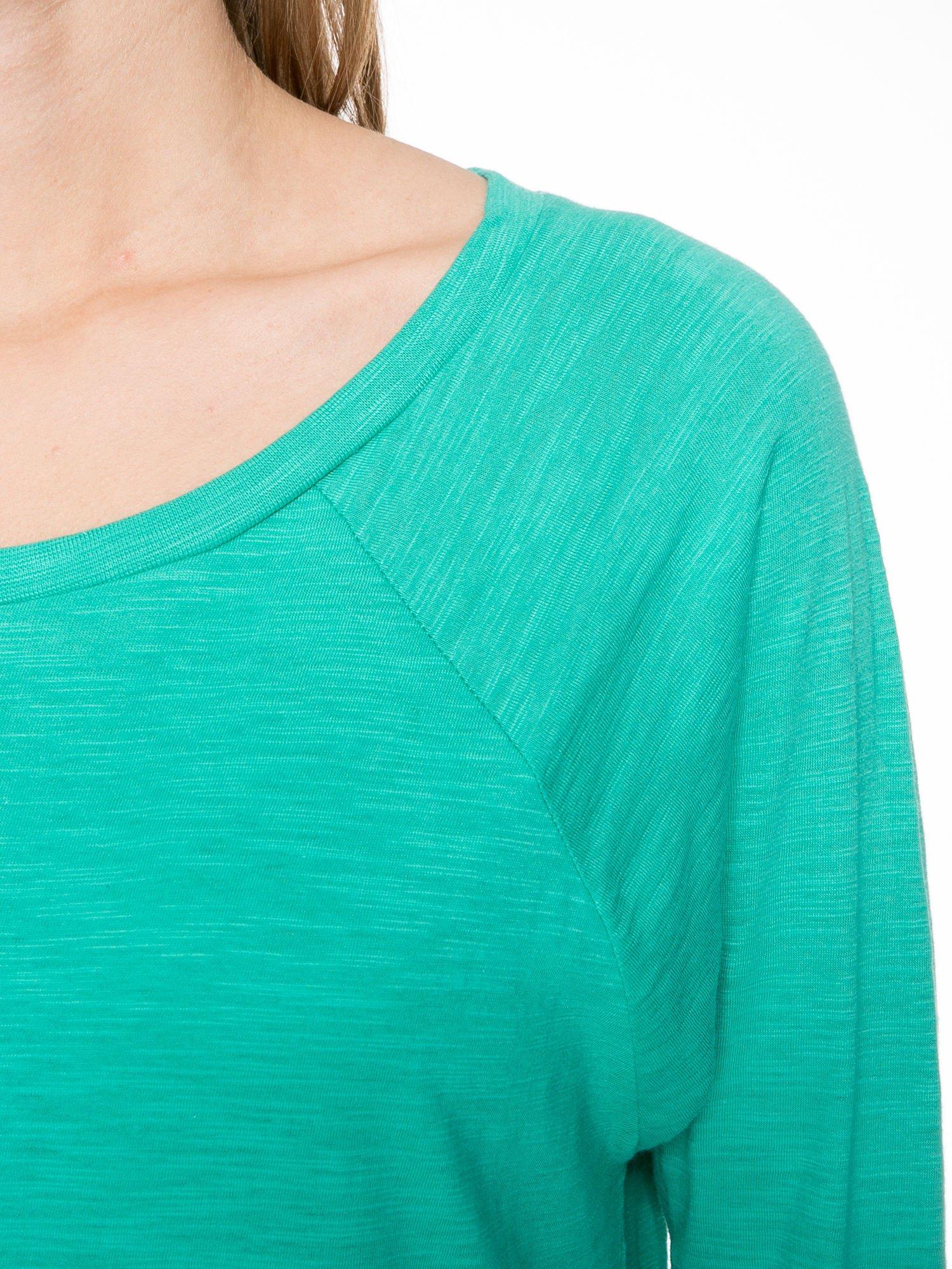 Zielona bawełniana bluzka z rękawami typu reglan                                  zdj.                                  3