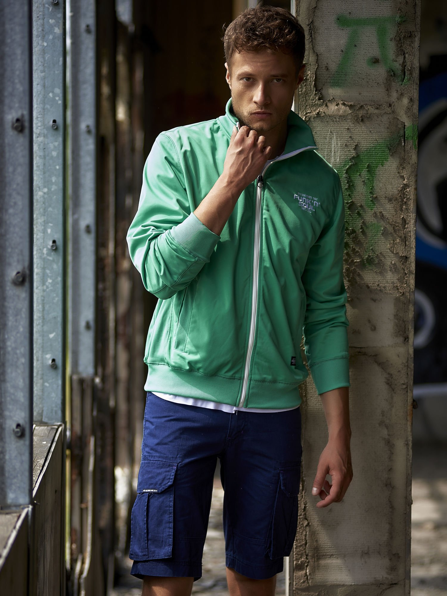 Zielona bluza męska na suwak Funk n Soul                                  zdj.                                  14