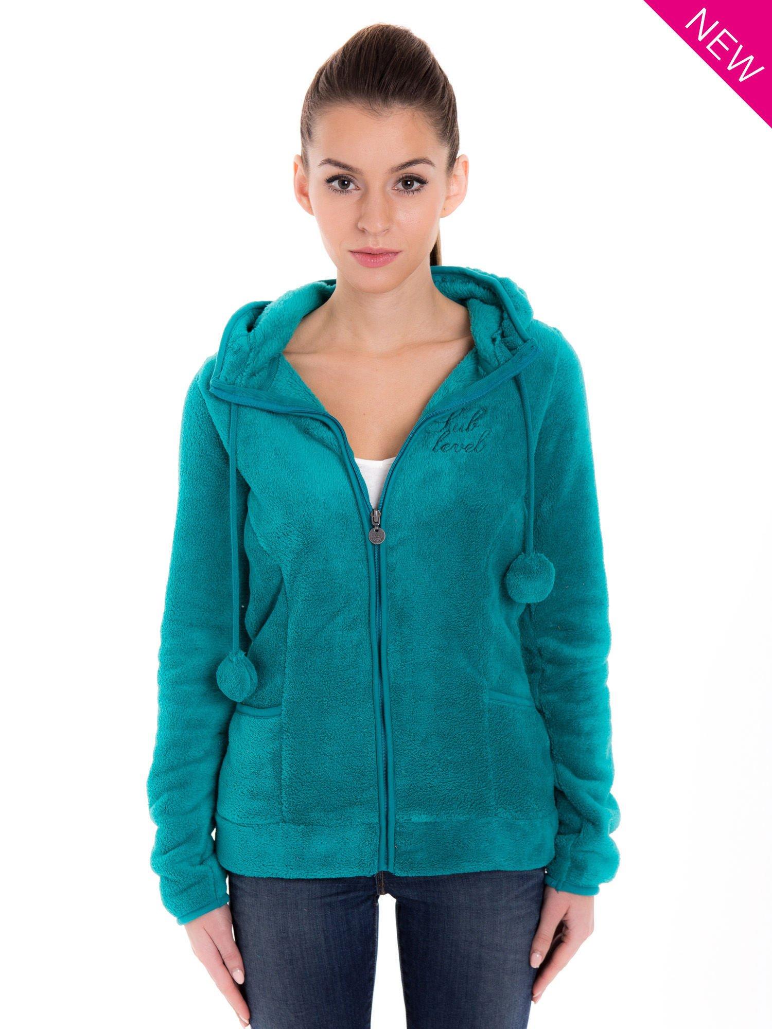Zielona bluza miś z kapturem z uszkami i pomponami                                  zdj.                                  2