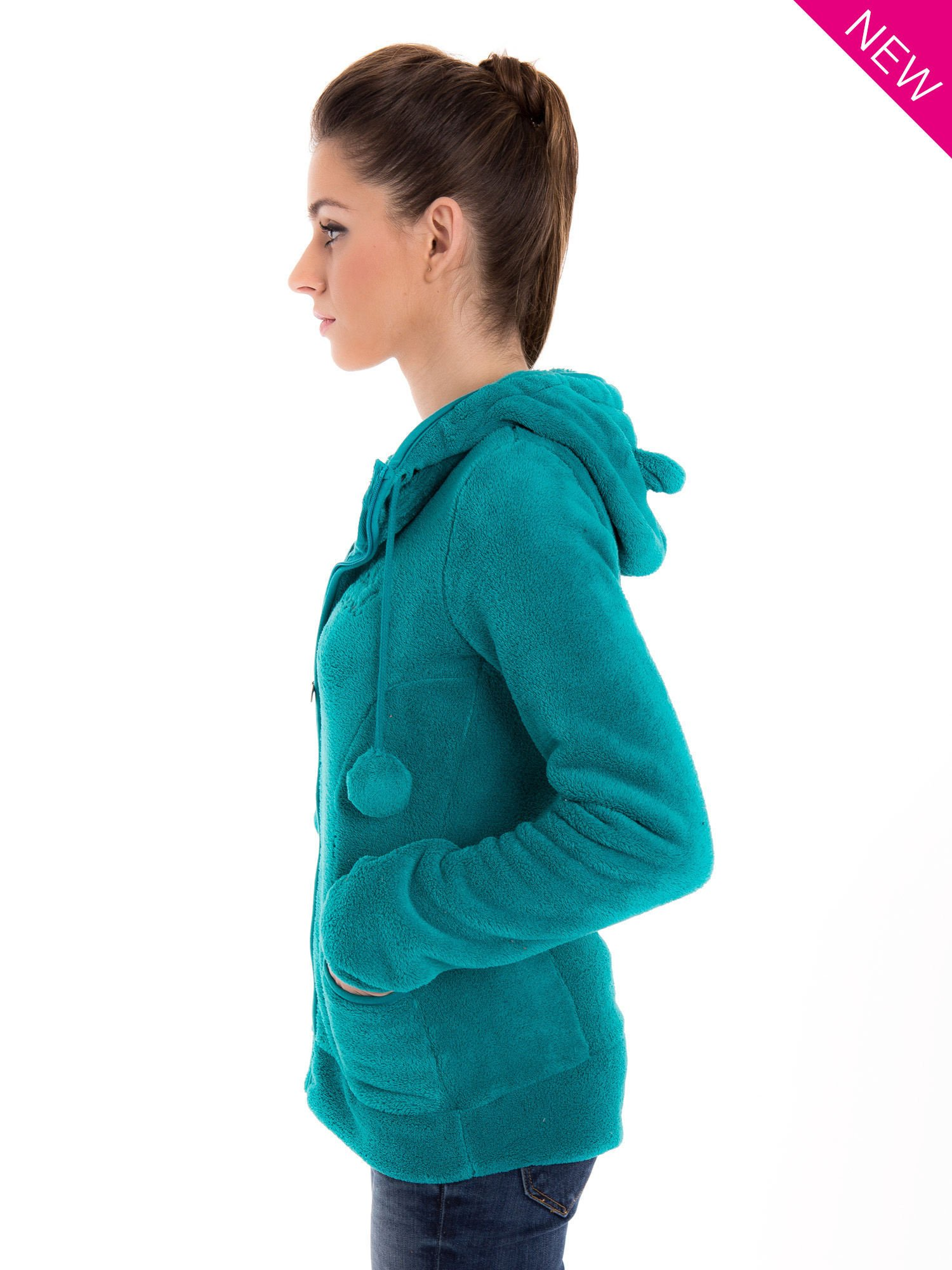 Zielona bluza miś z kapturem z uszkami i pomponami                                  zdj.                                  5