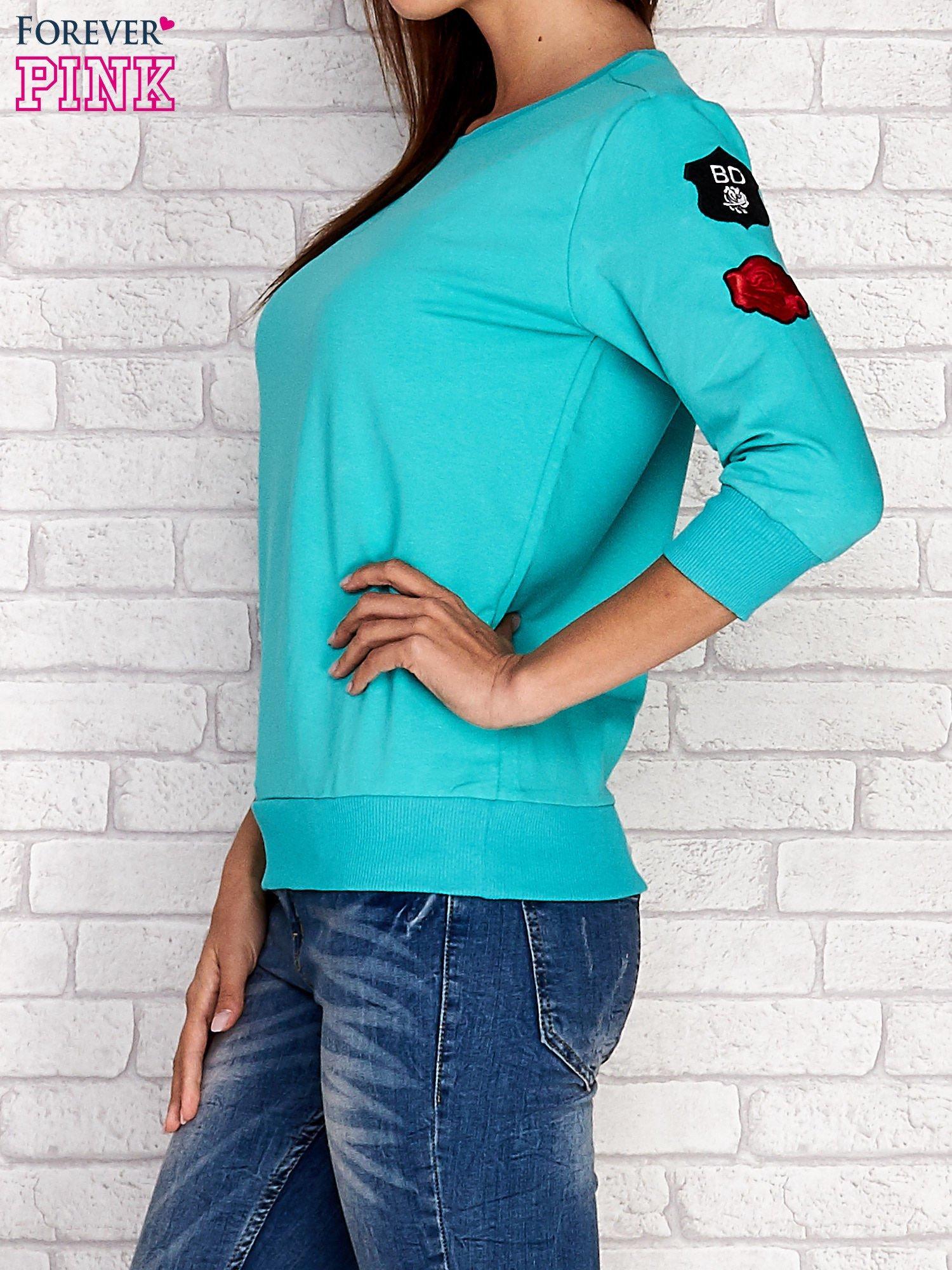 Zielona bluza z naszywkami na rękawie                                  zdj.                                  5