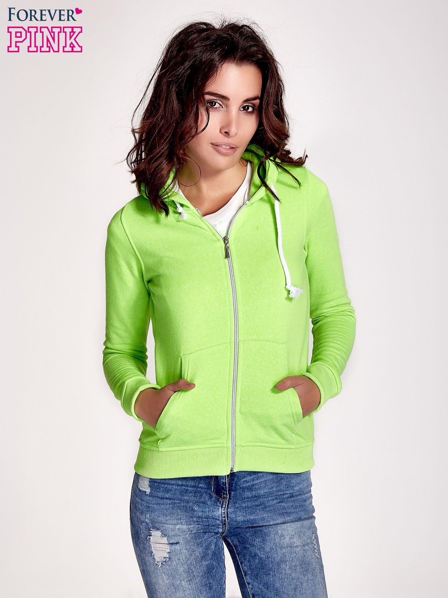 Zielona gładka bluza z kapturem                                  zdj.                                  1