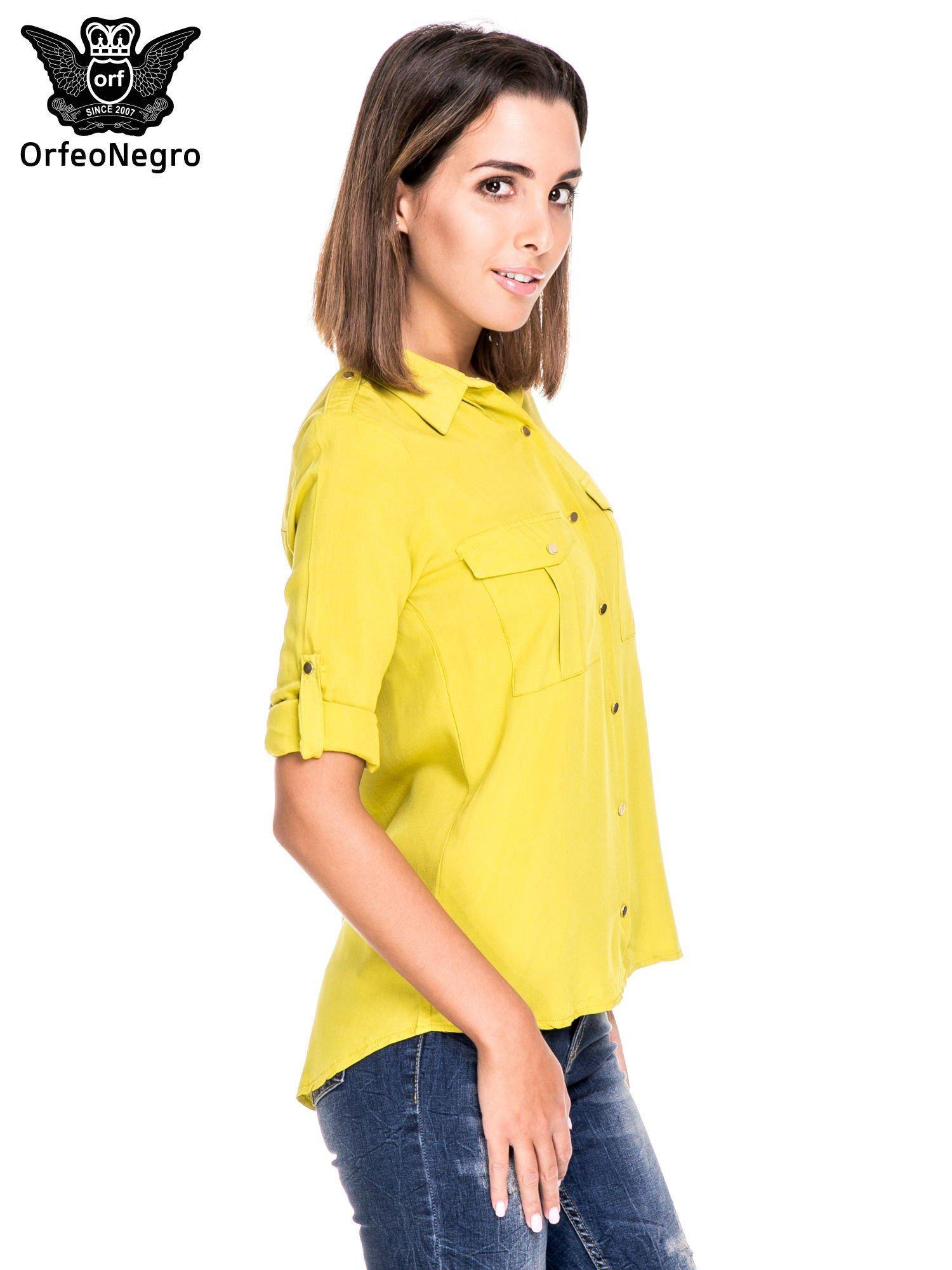 Zielona klasyczna koszula z kieszonkami po bokach                                  zdj.                                  5