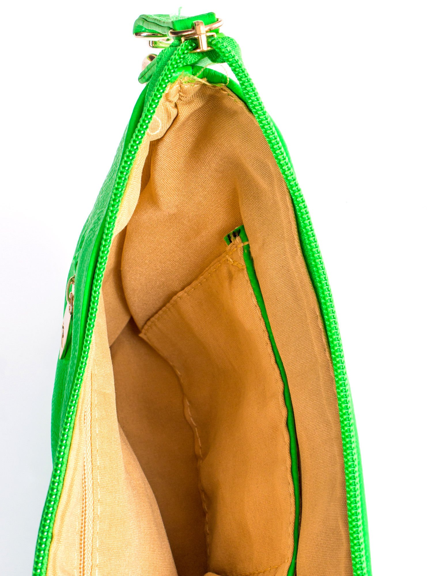 Zielona kopertówka z dżetami motyw ust                                  zdj.                                  8