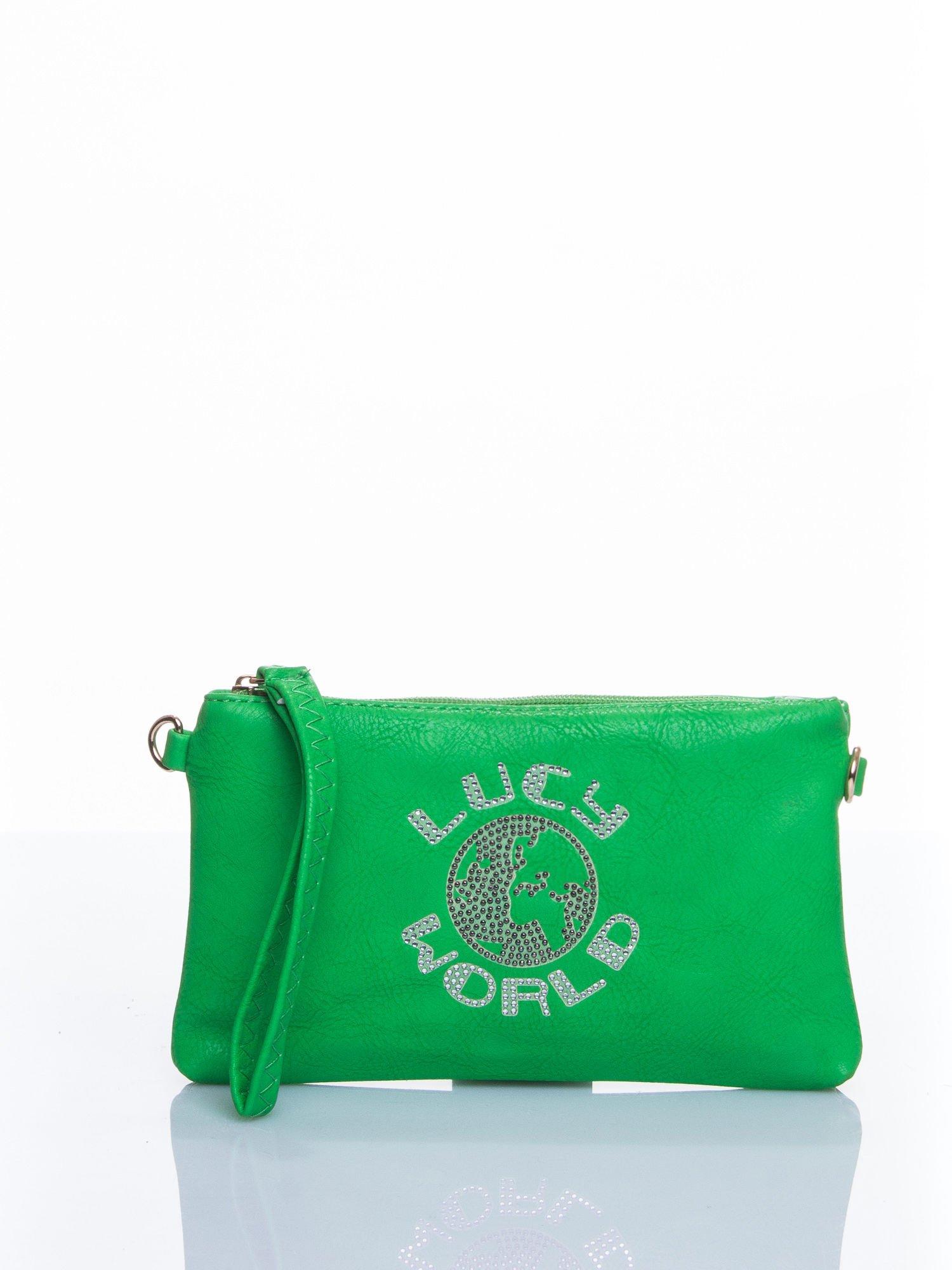 Zielona kopertówka z dżetami napis LUCY WORLD                                  zdj.                                  2