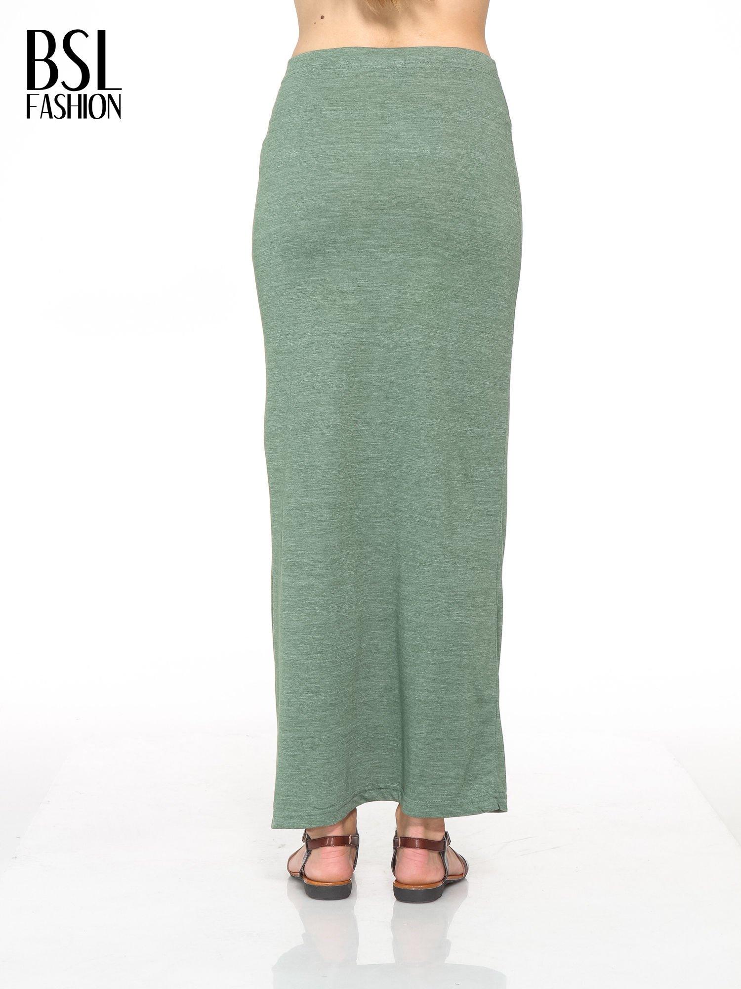 Zielona melanżowa spódnica maxi z rozcięciem                                  zdj.                                  3