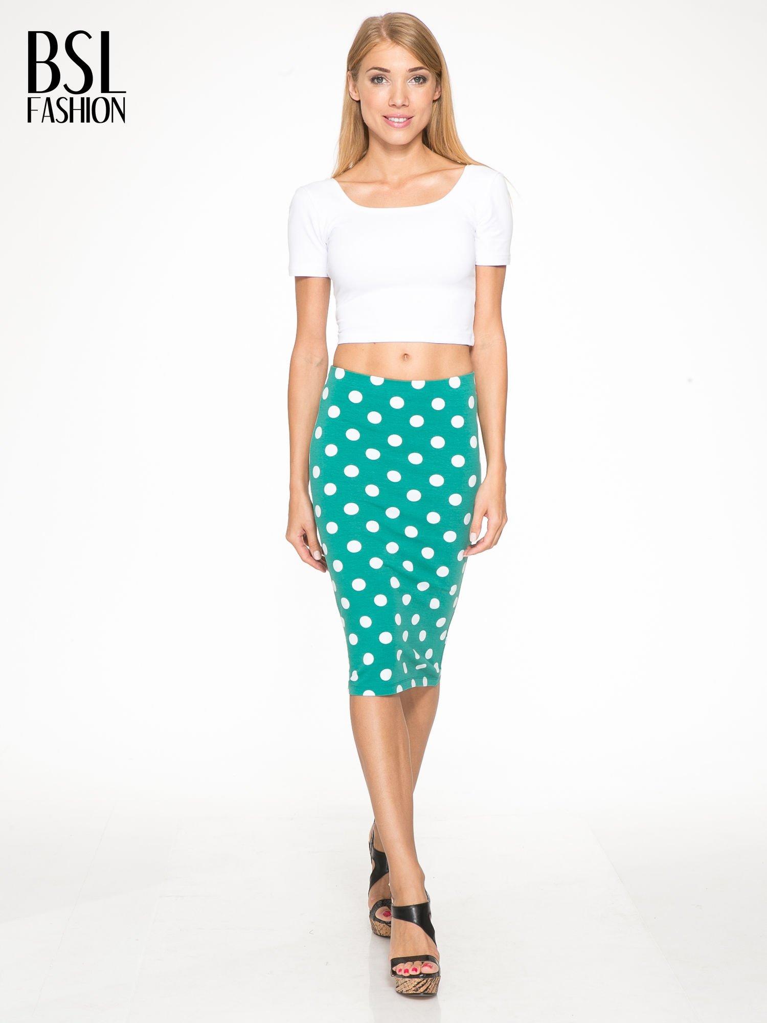 Zielona ołówkowa spódnica w groszki                                  zdj.                                  2