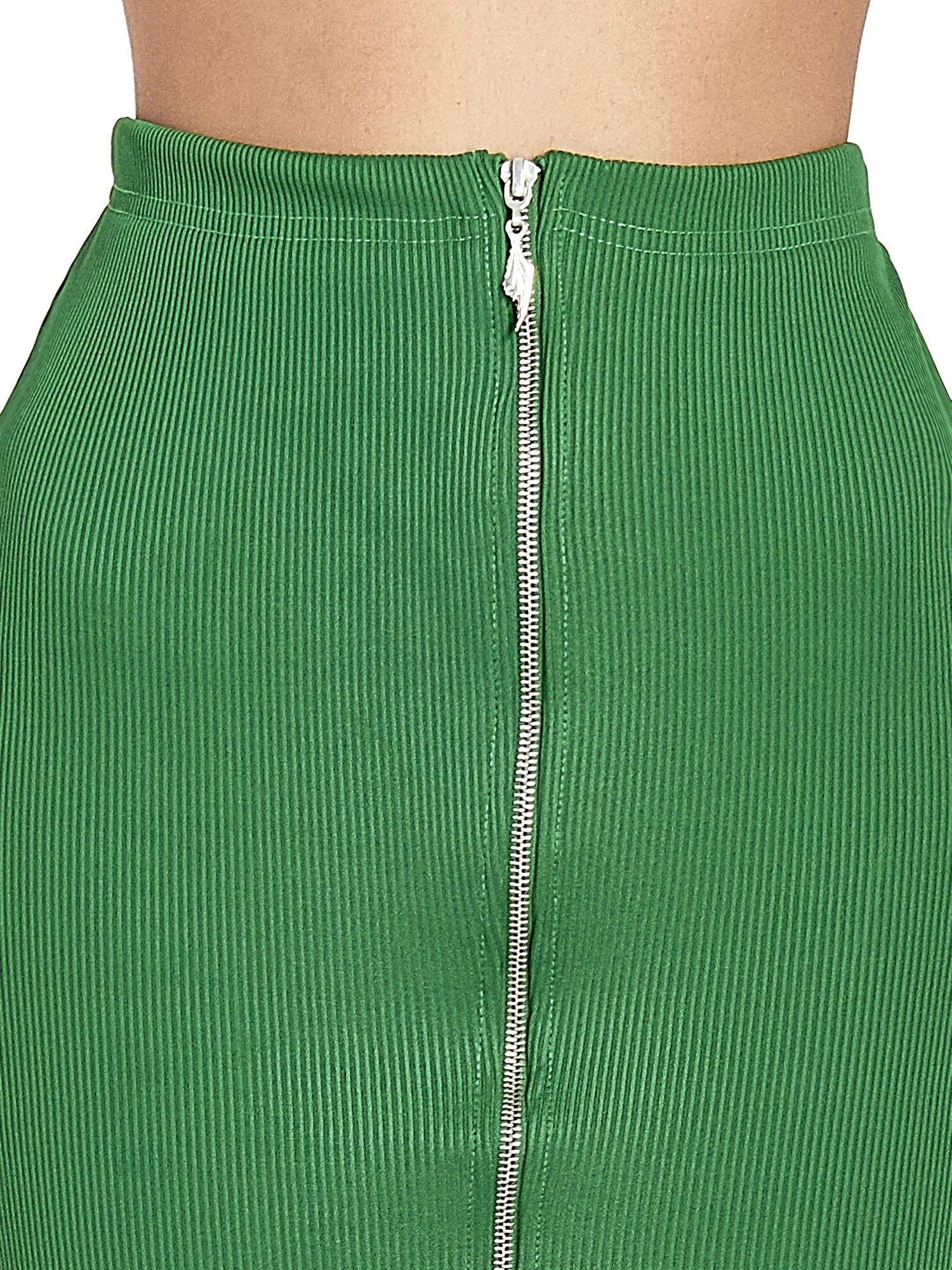Zielona spódnica midi z suwakiem z przodu                                  zdj.                                  5
