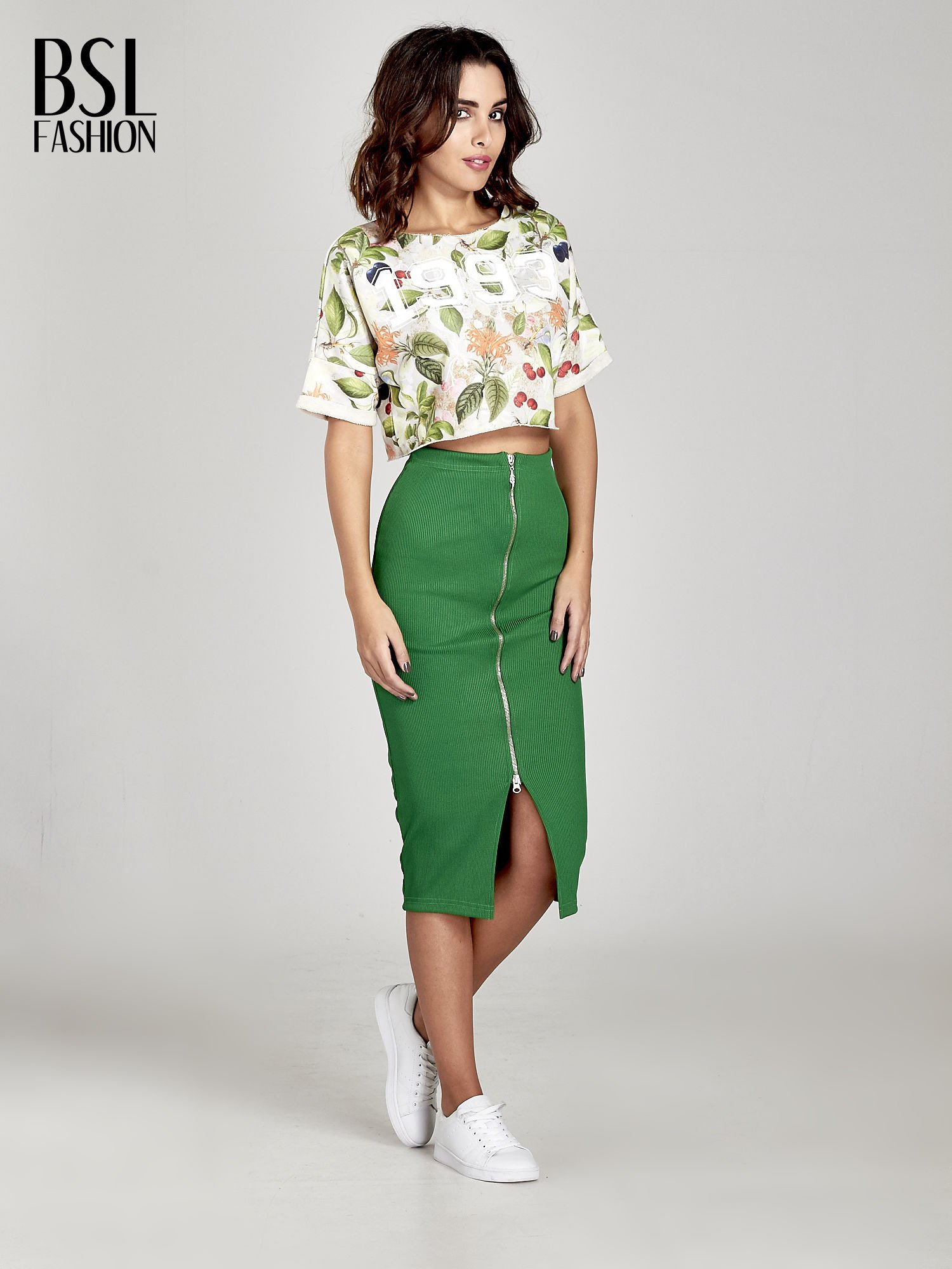 Zielona spódnica midi z suwakiem z przodu                                  zdj.                                  2