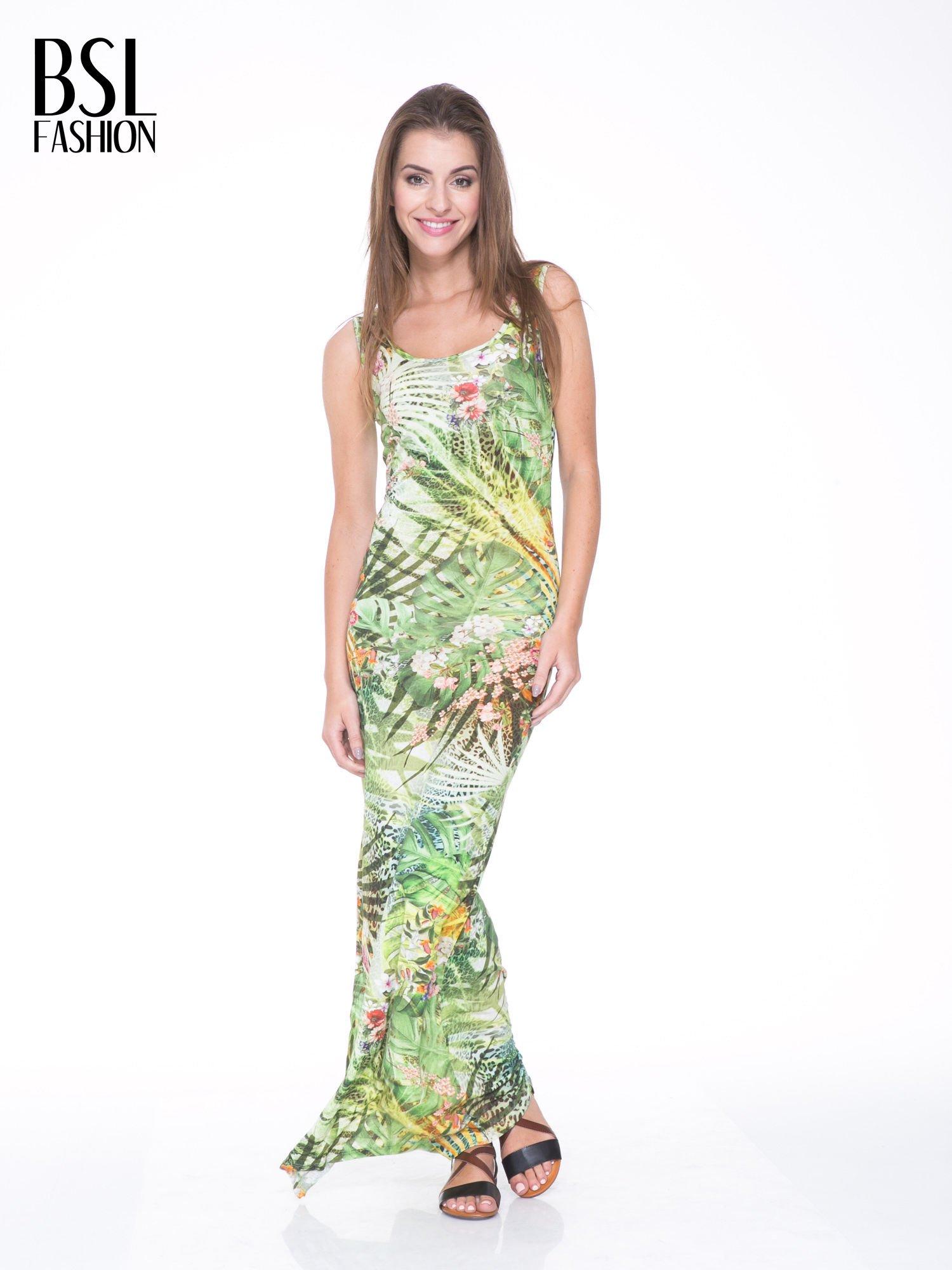 Zielona sukienka maxi w egzotyczny nadruk palm                                  zdj.                                  1