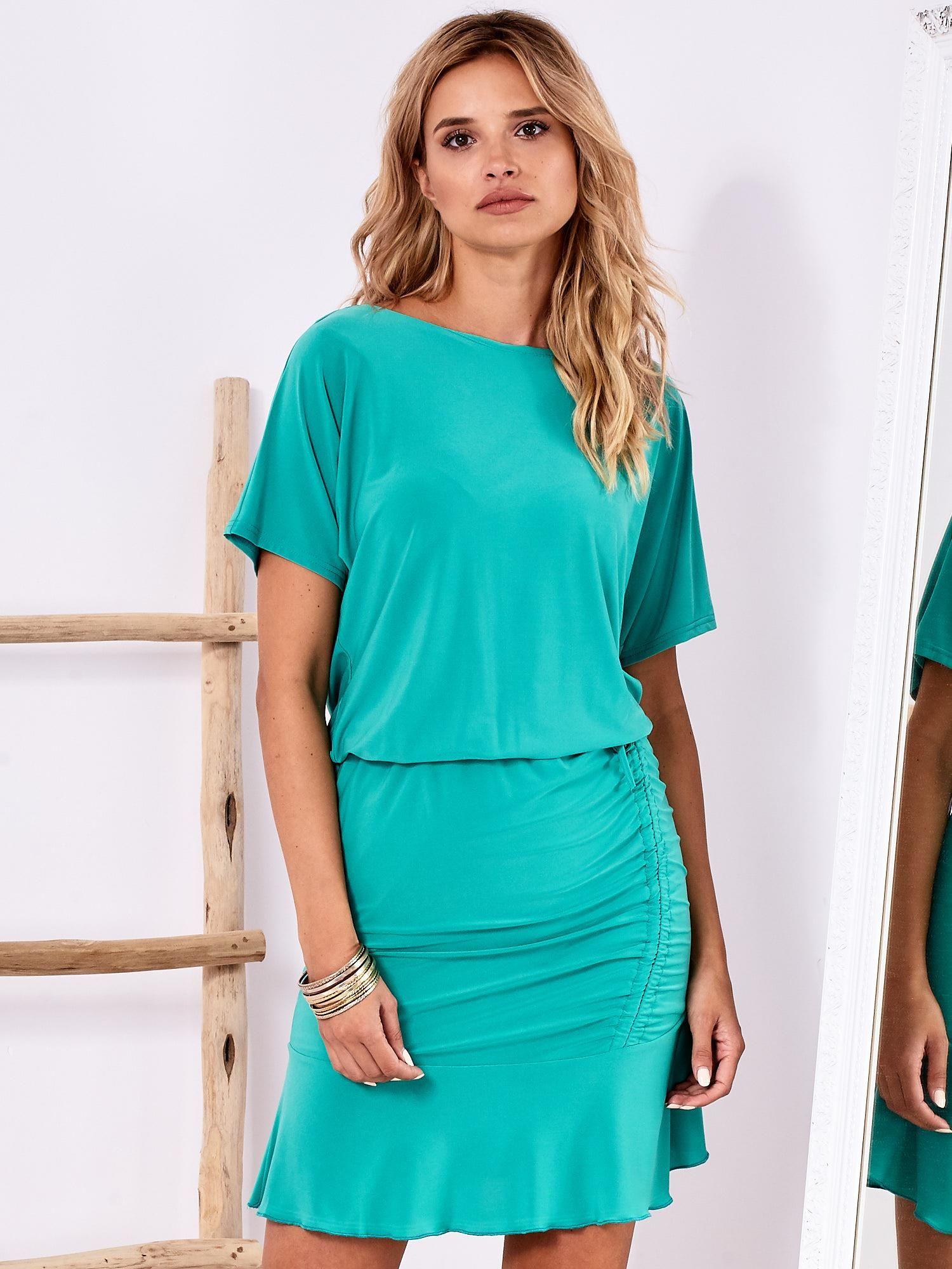 11db259458 Zielona sukienka z drapowaniem i wycięciem łezką z tyłu - Sukienka ...