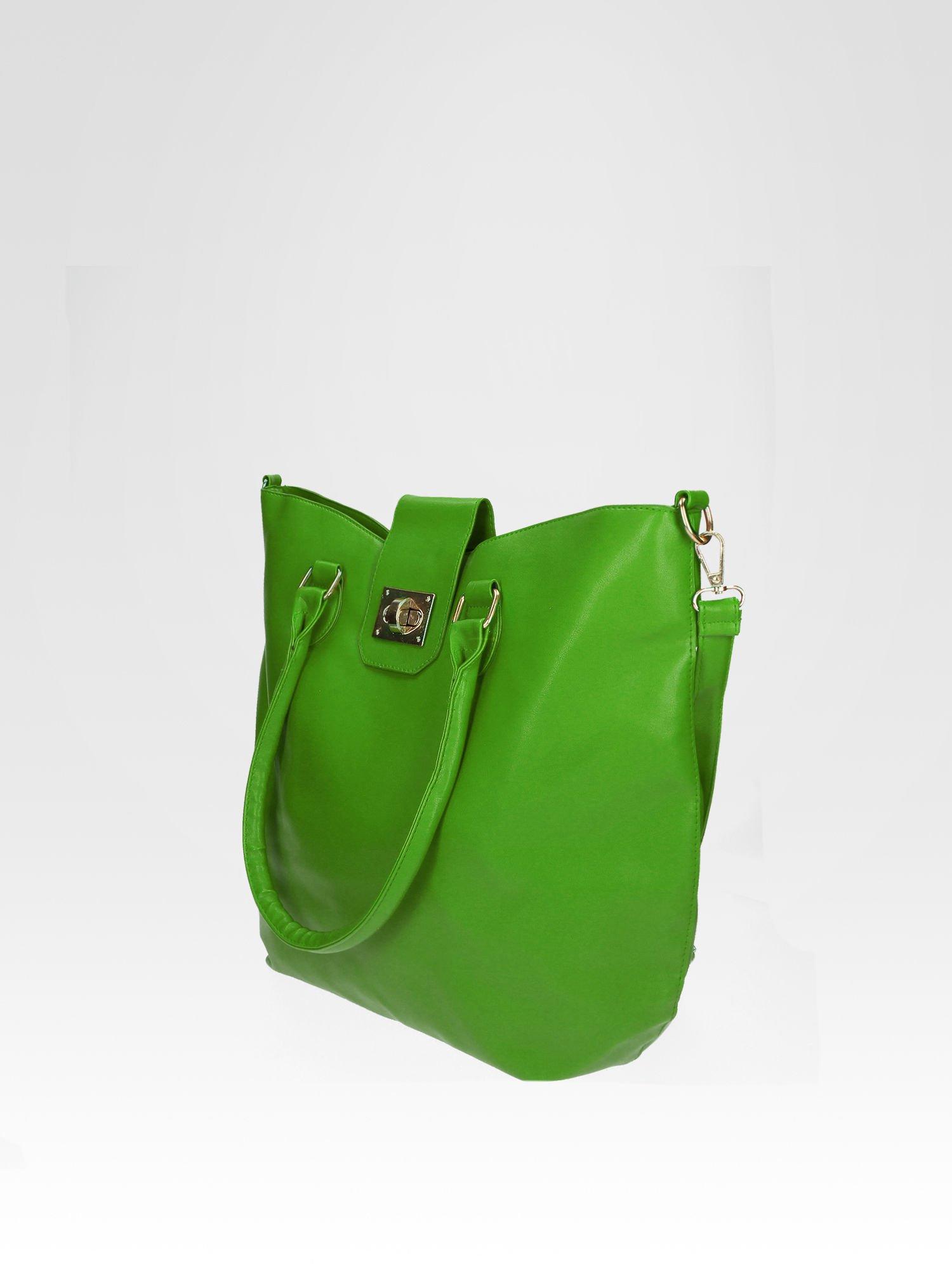 Zielona torebka city bag z zatrzaskiem                                  zdj.                                  3