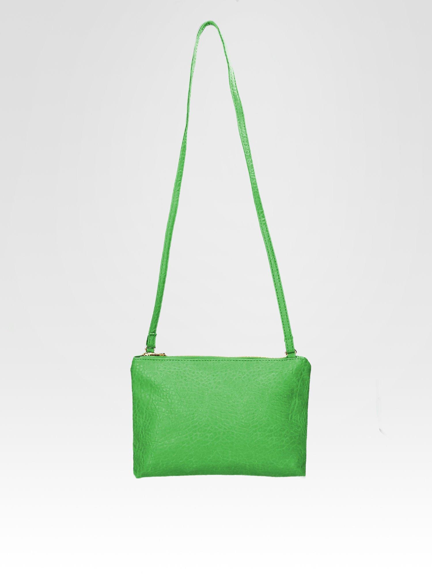 Zielona torebka dwukomorowa z paskiem                                  zdj.                                  4