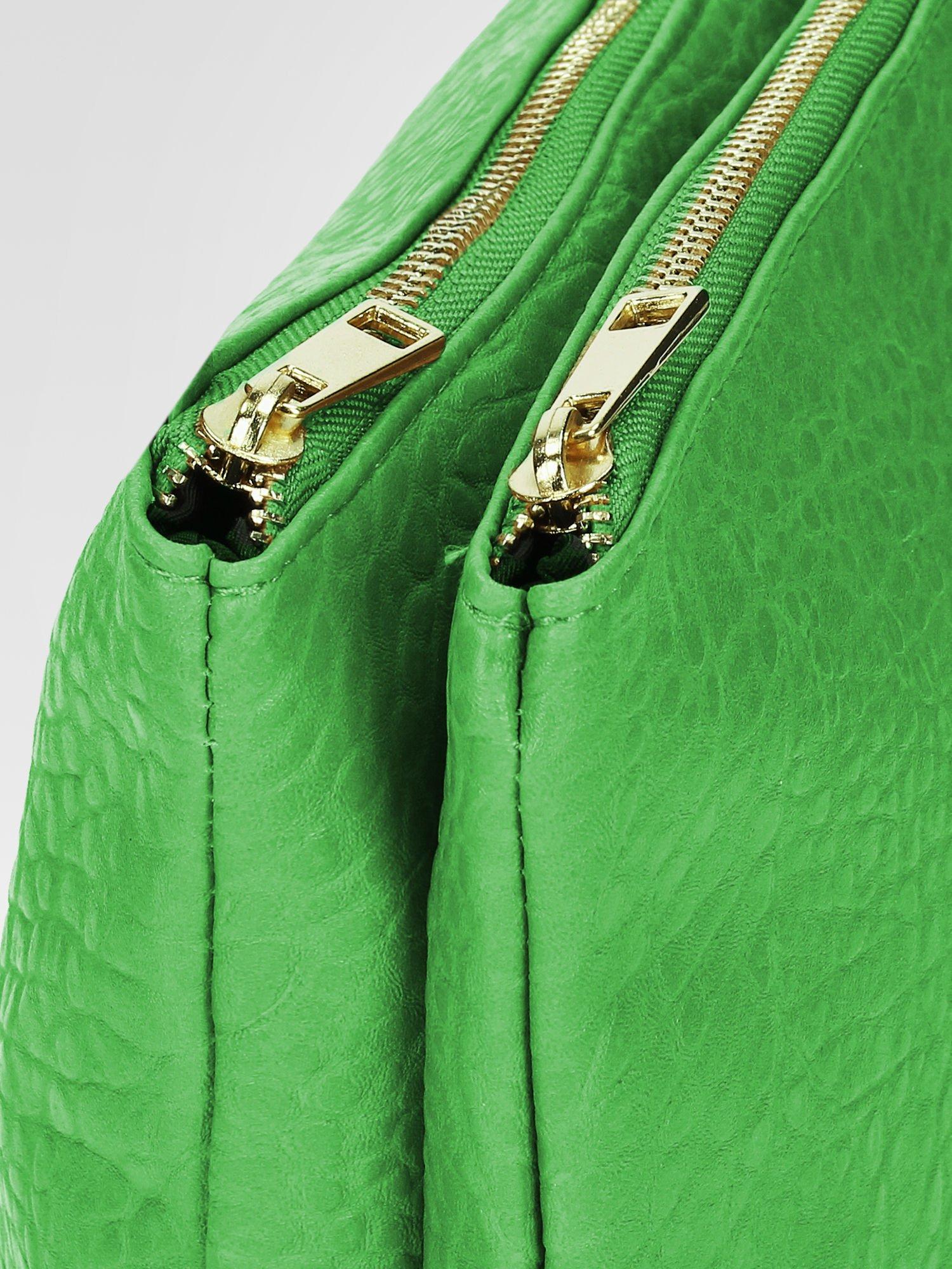 Zielona torebka dwukomorowa z paskiem                                  zdj.                                  6