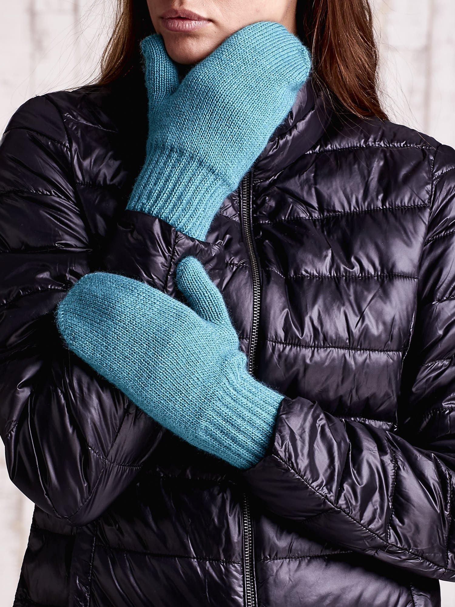 Zielone gładkie rękawiczki z jednym palcem                                  zdj.                                  2