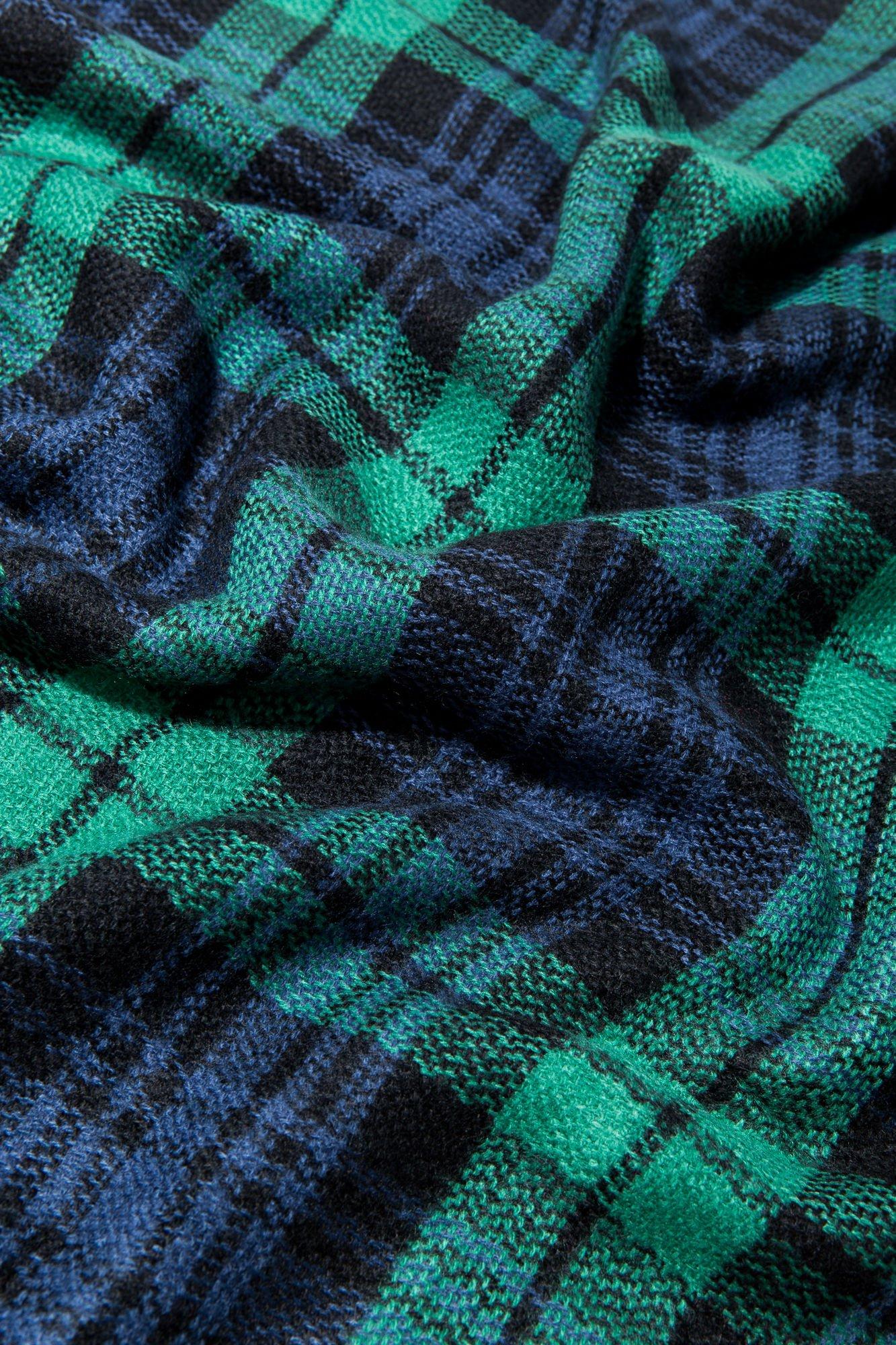 Zielono-granatowy szalik damski w kratę                                  zdj.                                  10