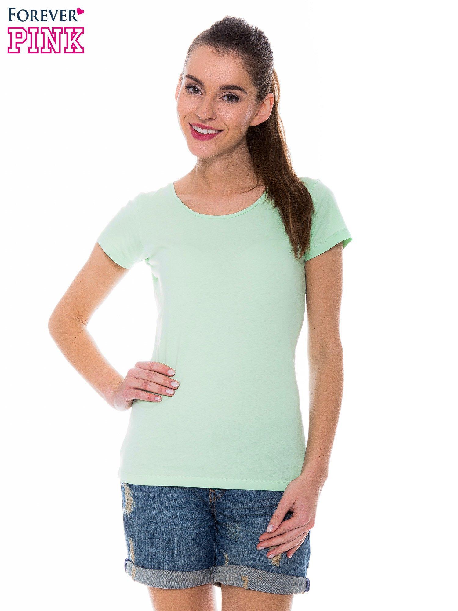 Zielony basicowy t-shirt z okrągłym dekoltem                                  zdj.                                  1