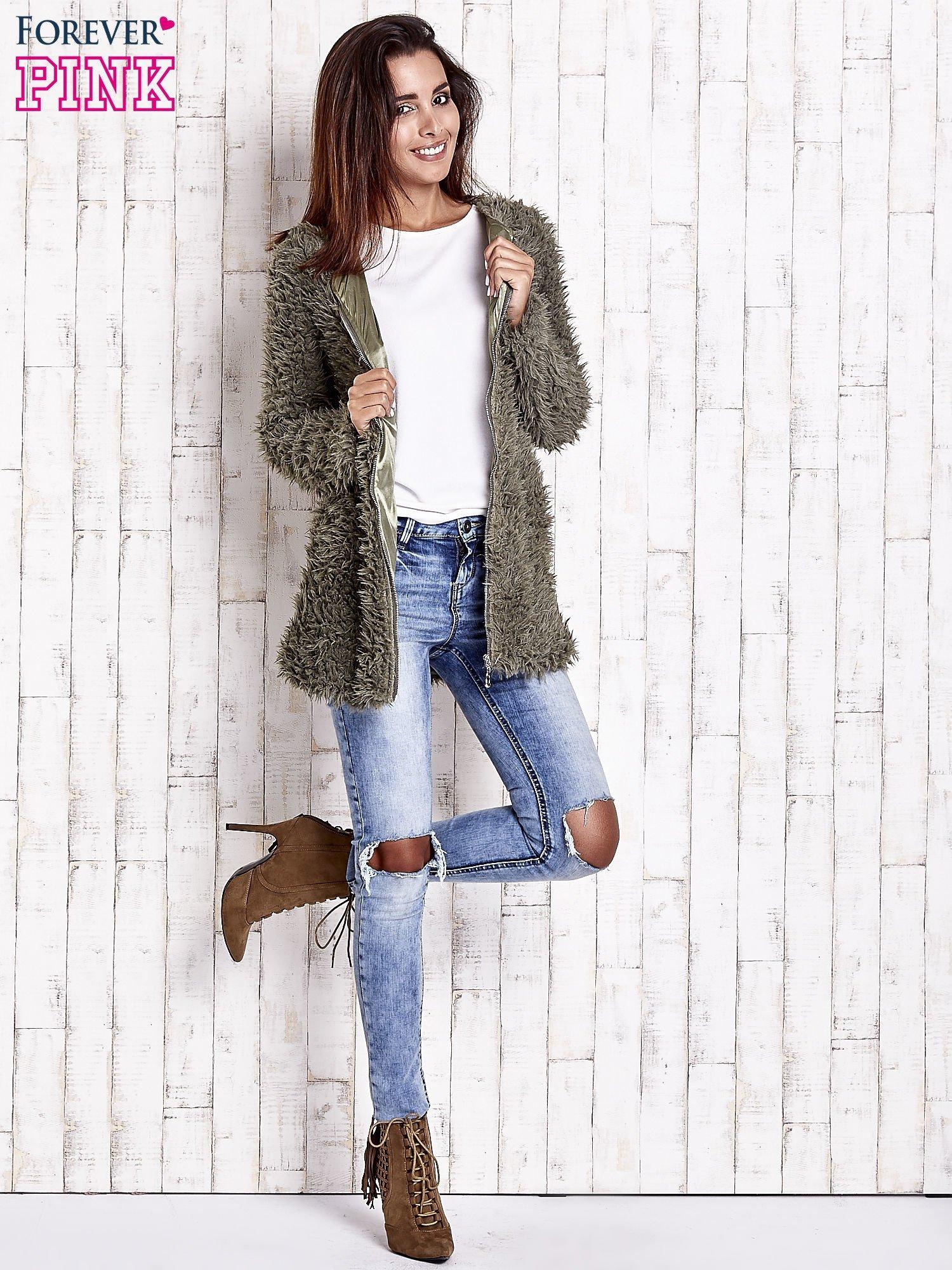 Zielony futrzany sweter kurtka na suwak                                  zdj.                                  3