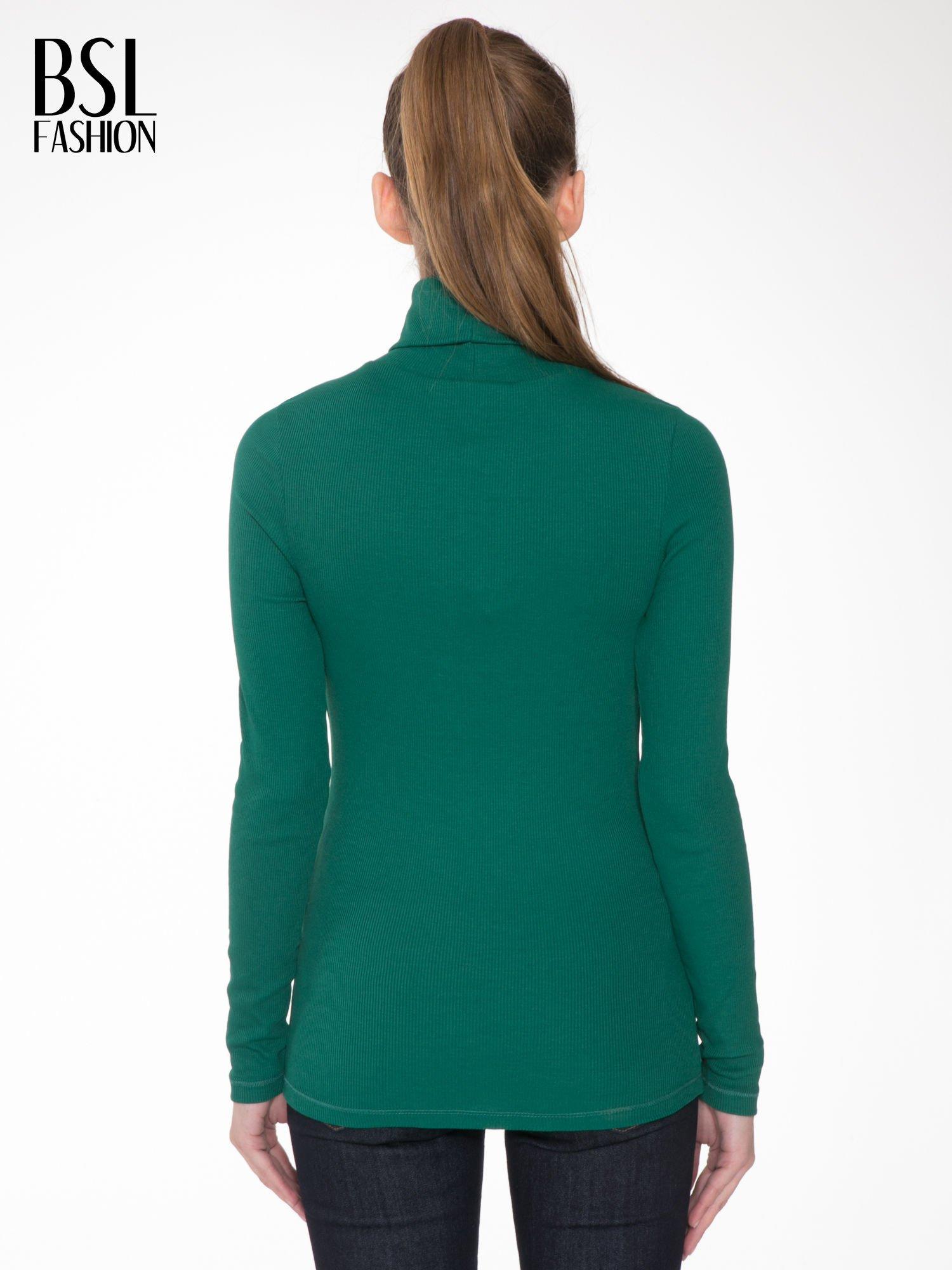 Zielony prążkowany golf damski                                  zdj.                                  4