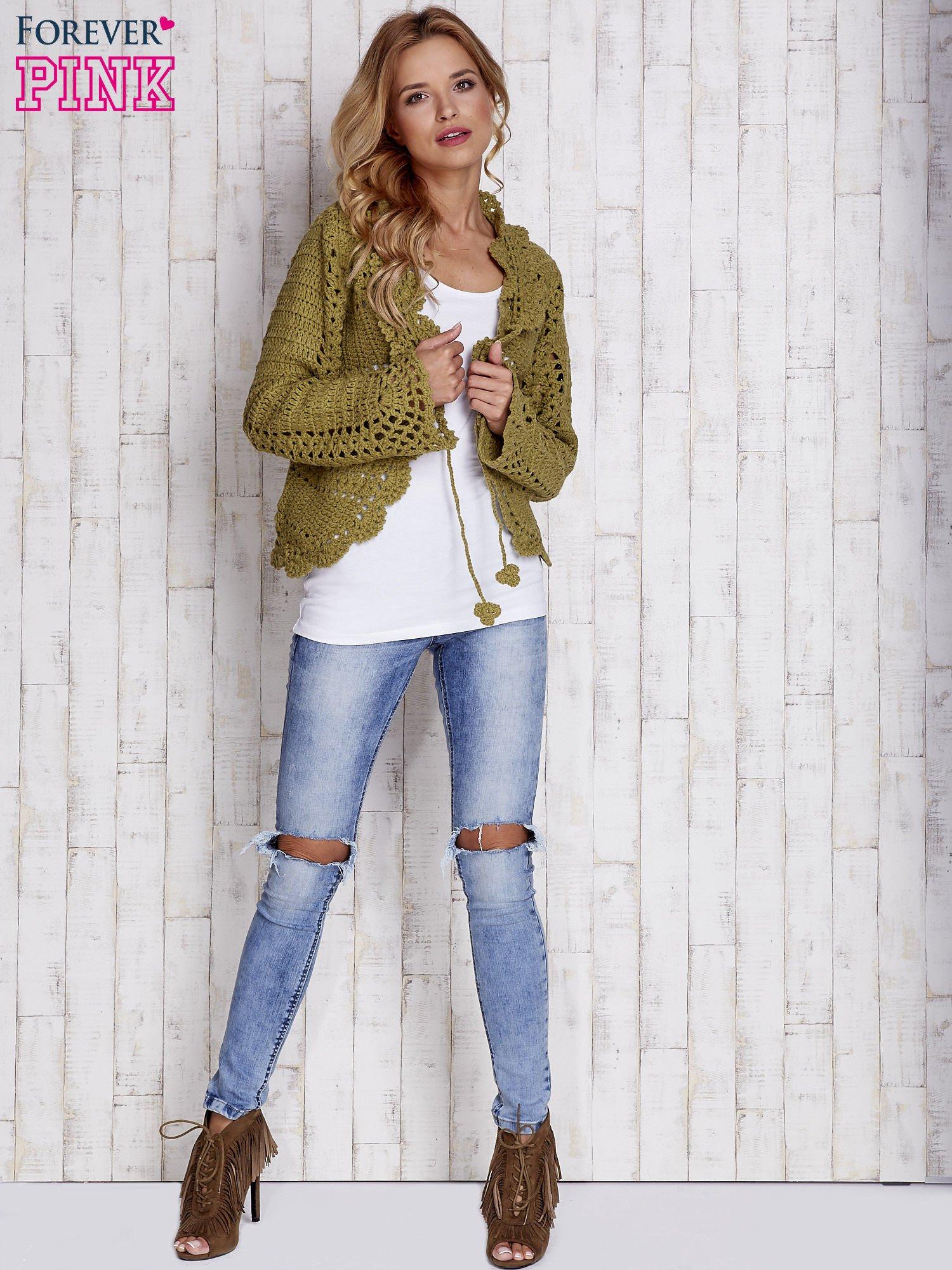 Zielony sweter z wiązaniem                                  zdj.                                  6
