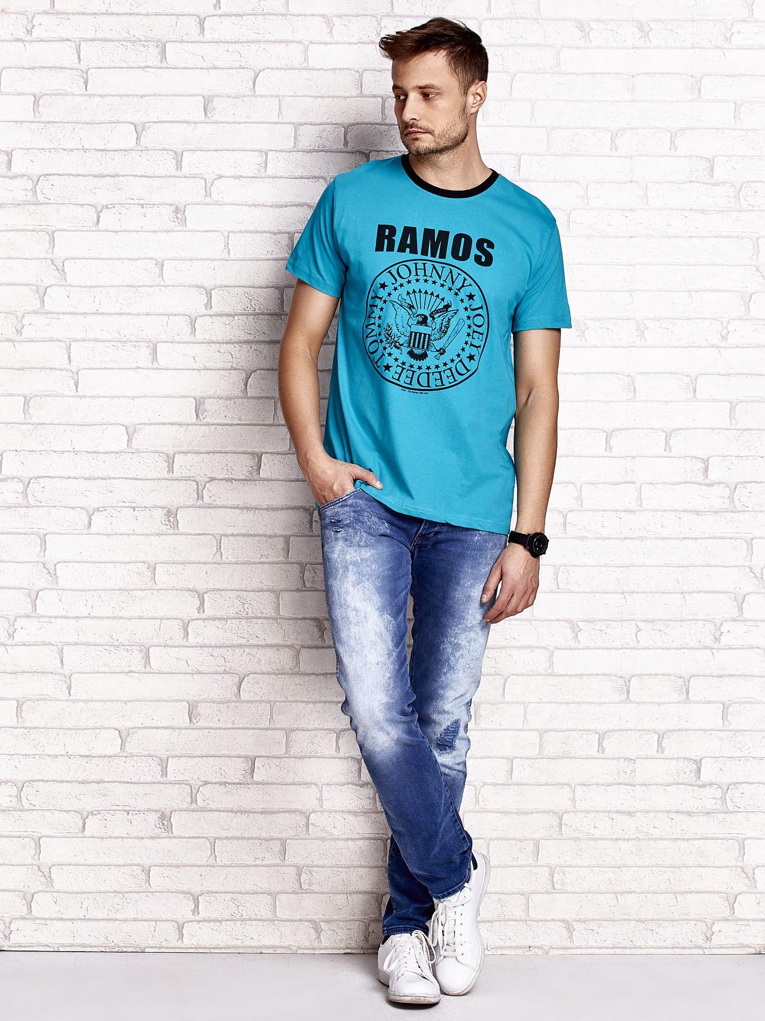 Zielony t-shirt męski z napisem RAMOS i nadrukiem                                  zdj.                                  4