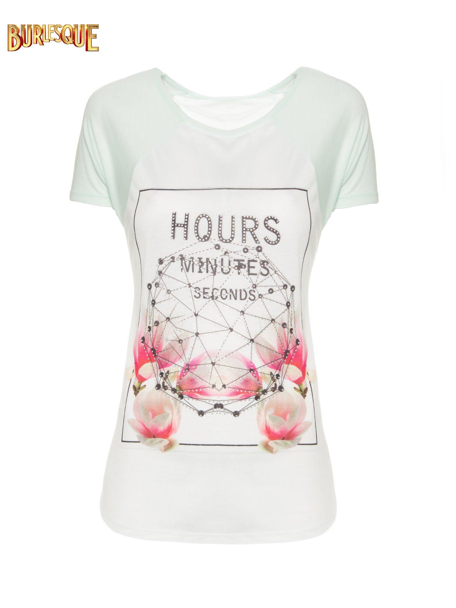 Zielony t-shirt z napisem HOURS MINUTES SECONDS z dżetami                                  zdj.                                  7