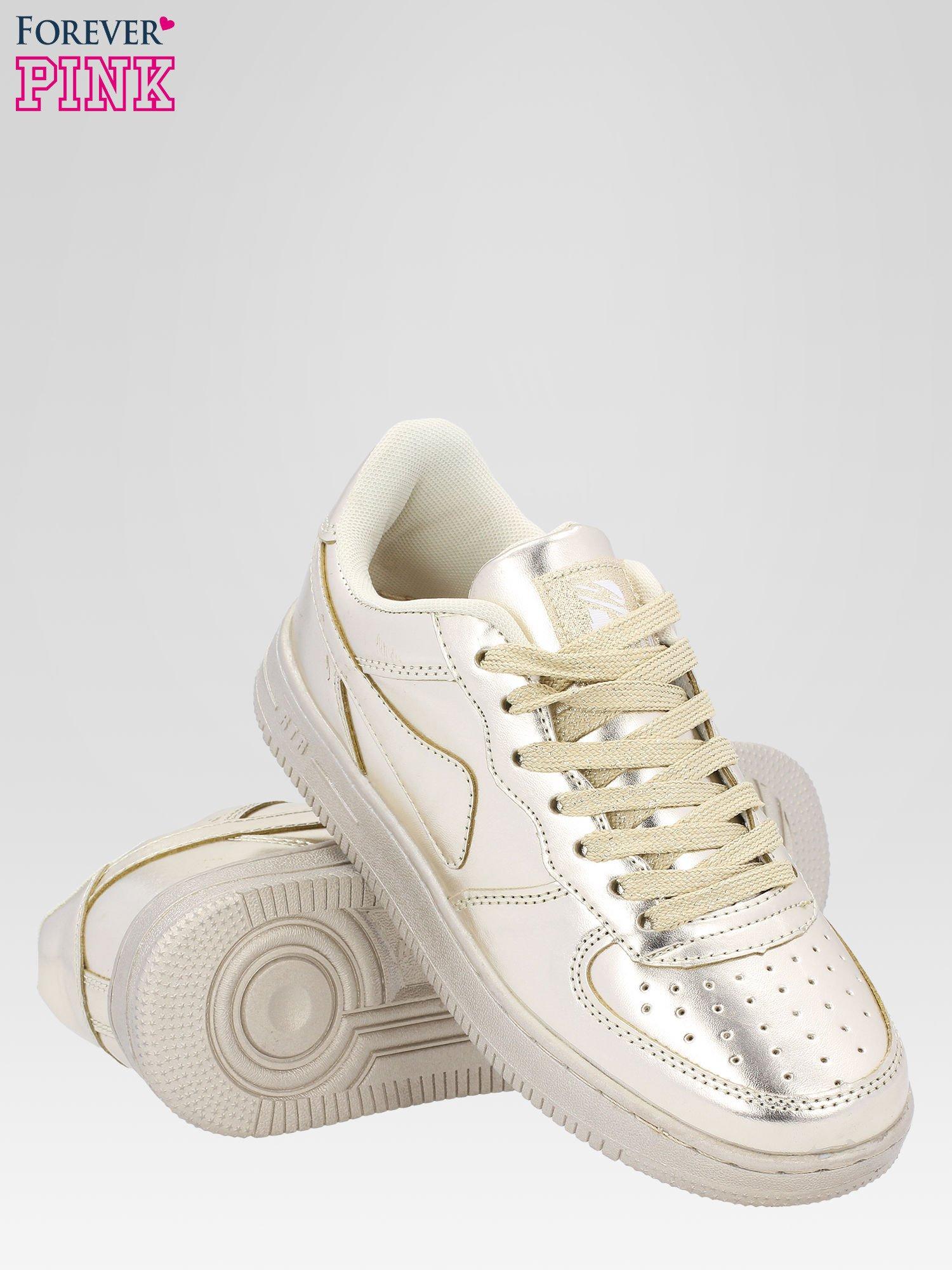 Złote buty sportowe faux leather Mousse na grubej podeszwie                                  zdj.                                  4