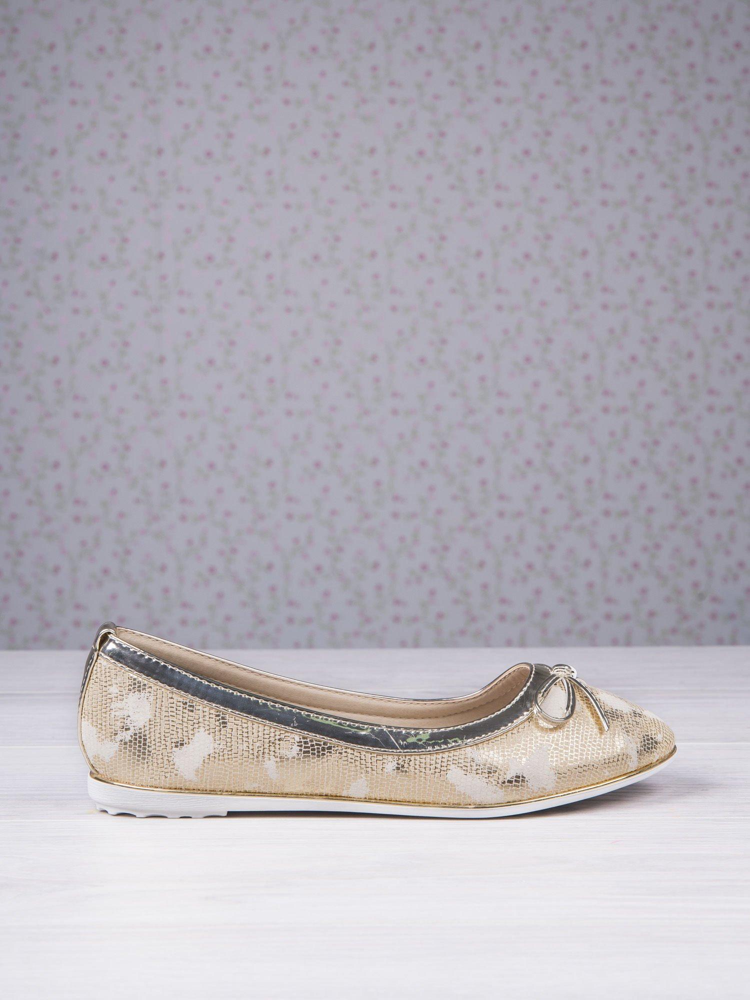 Złote marmurkowe baleriny gold leather Dream z kokardką                                  zdj.                                  1